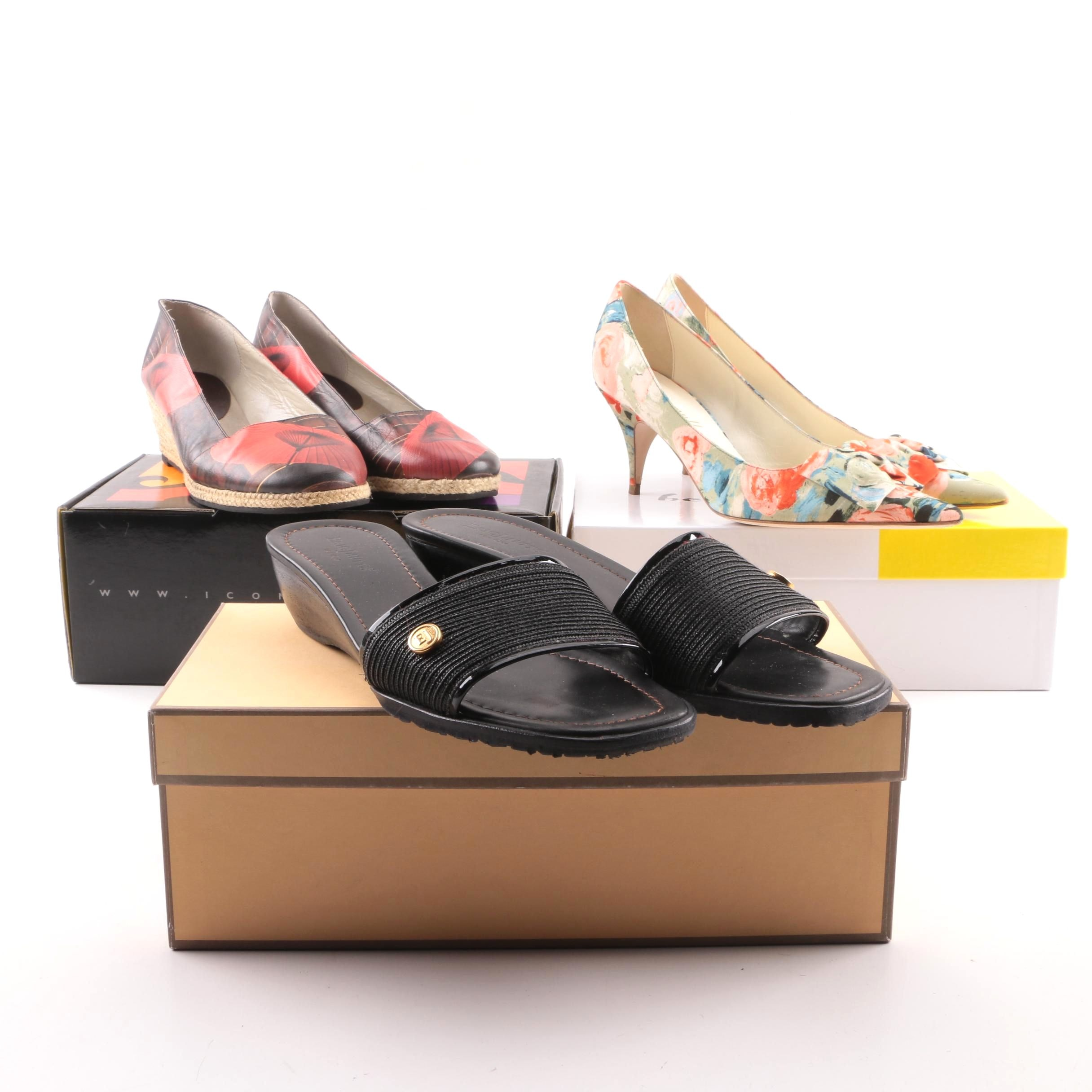 Women's Pumps, Wedges and Slide Sandals including Eric Javits