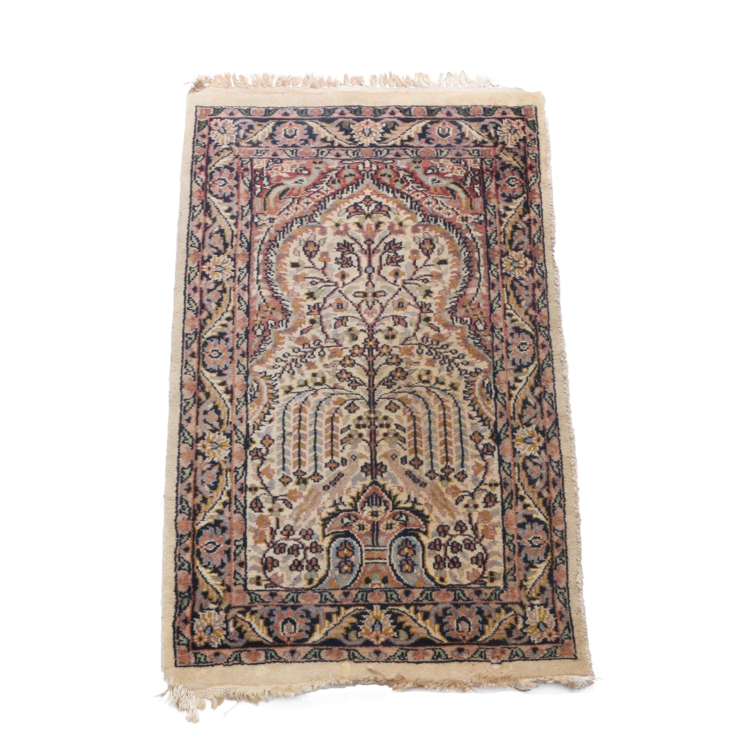 Hand-Knotted Persian Tree of Life Prayer Rug