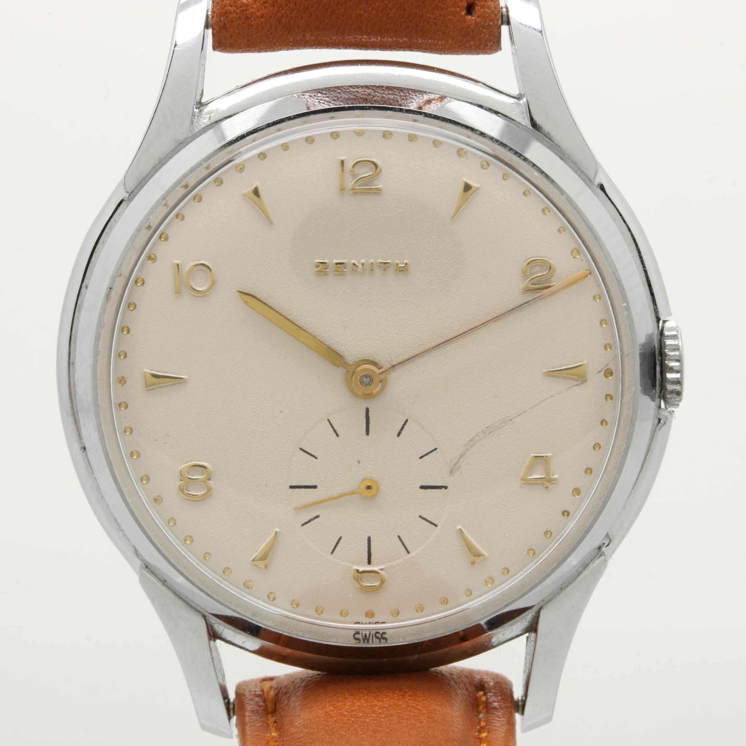 Zenith Stainless Steel and Leather Stemwind Wristwatch