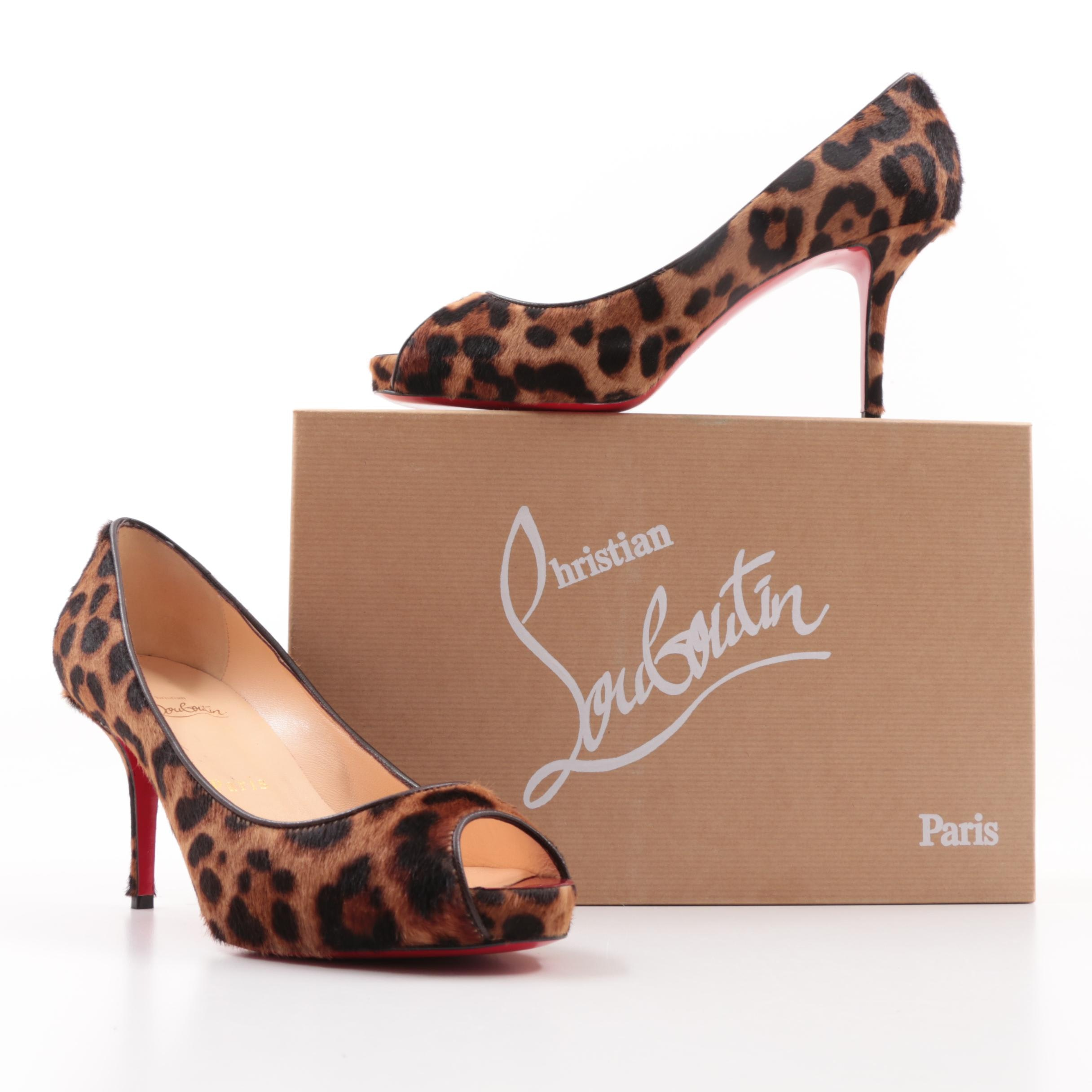 Christian Louboutin Paris Mater Claude Leopard Print Pony Hair Platform Pumps