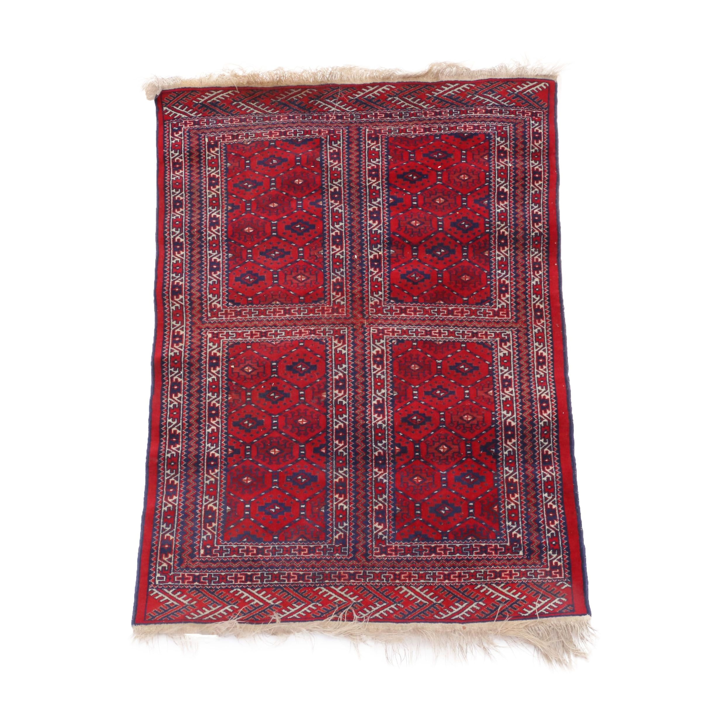 Hand-Knotted Turkmen Panel Area Rug