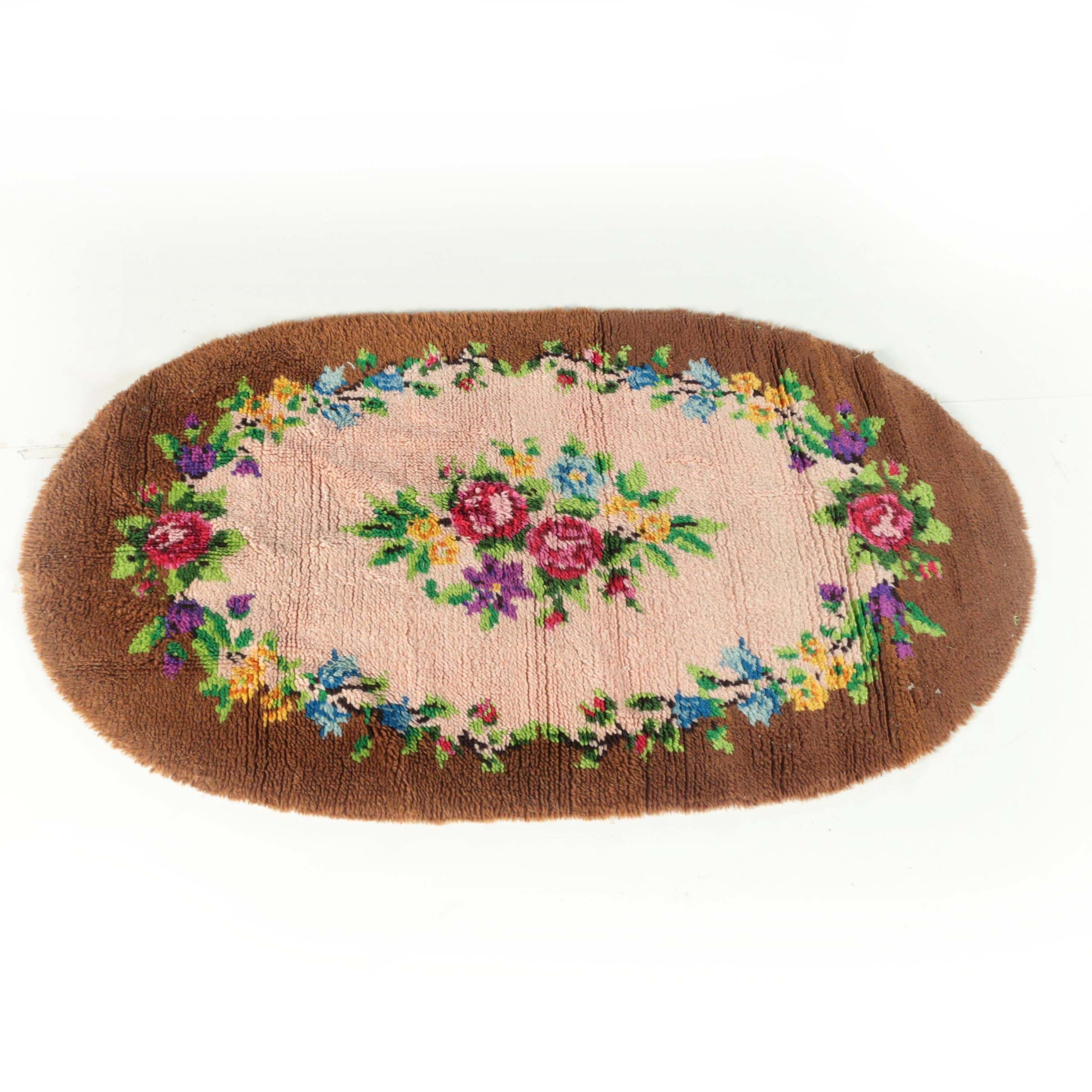 Vintage Hand-Hooked Floral Wool Accent Rug
