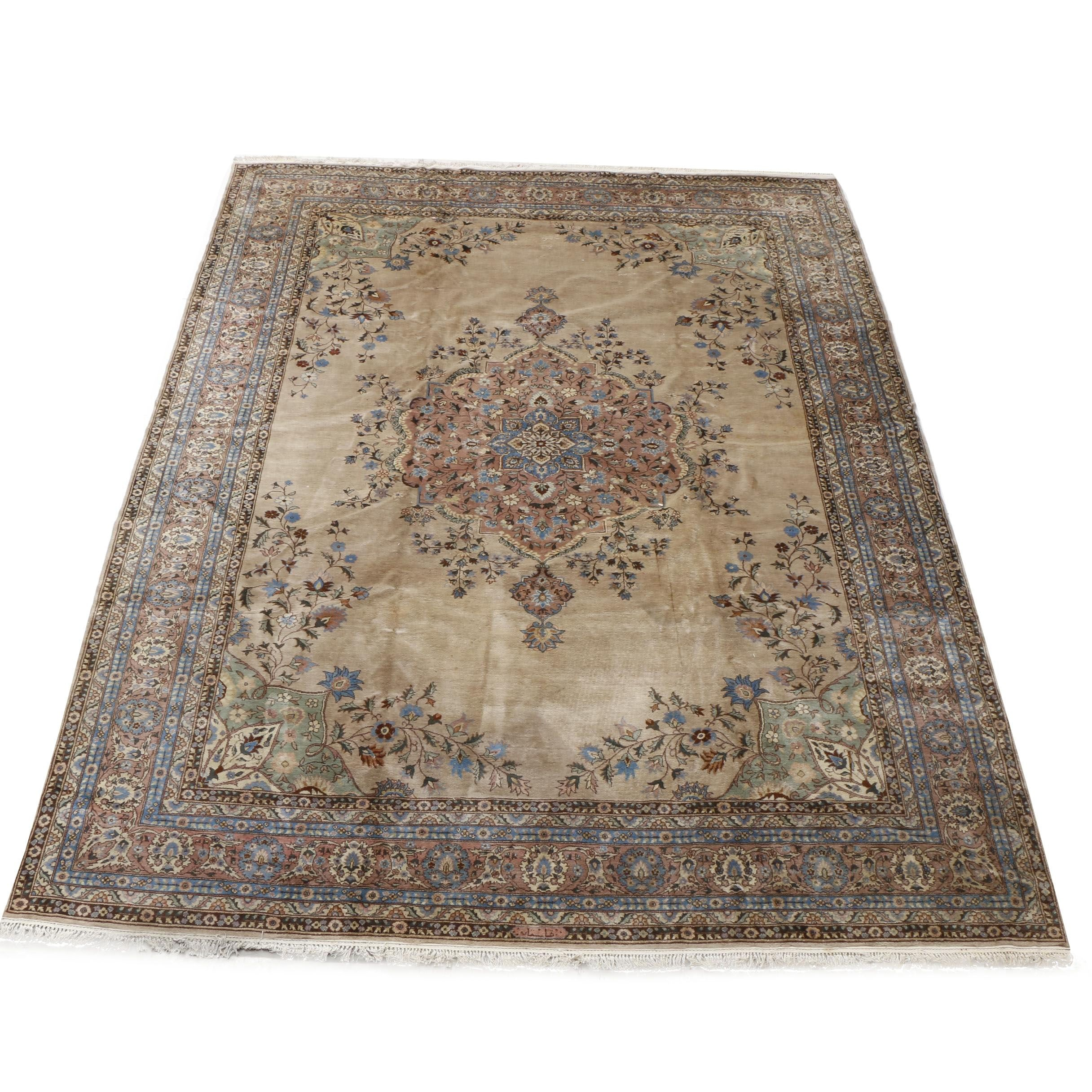 Signed Hand-Knotted Indo-Persian Room-Size Rug