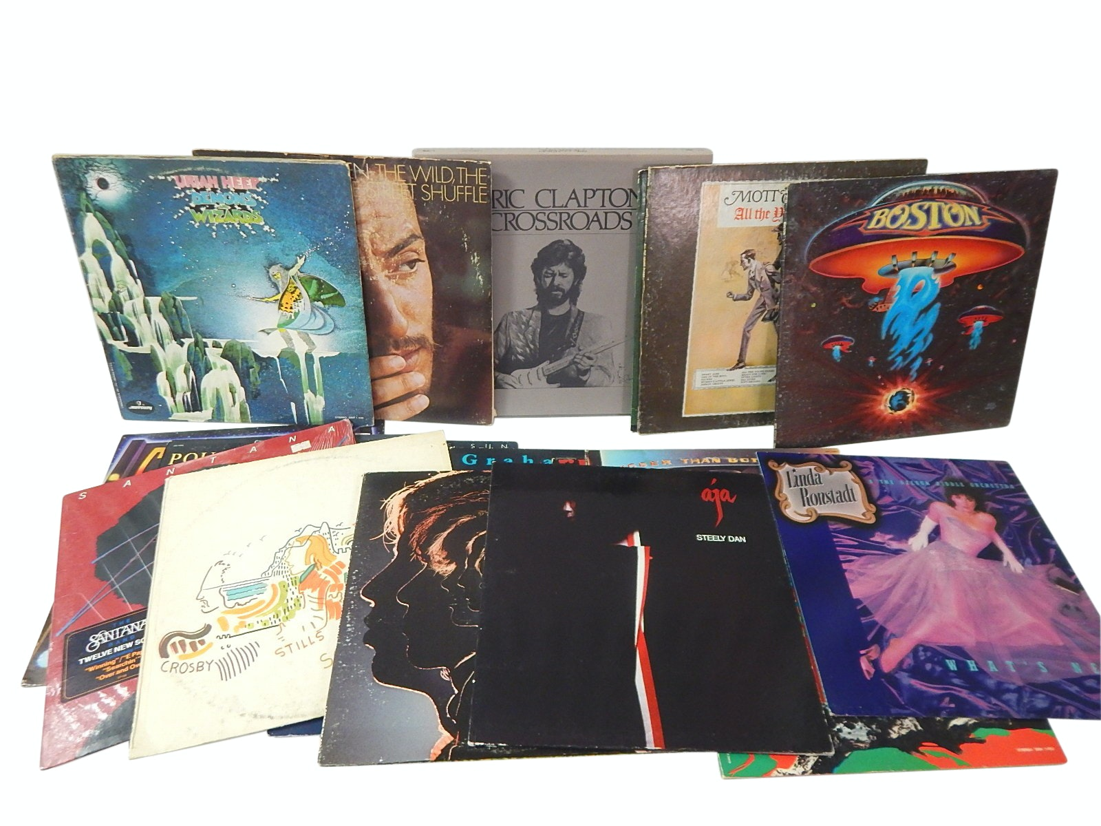 1970s Classic Rock 33 RPM Records with Clapton, Santana, CSN, More  - 19 Count