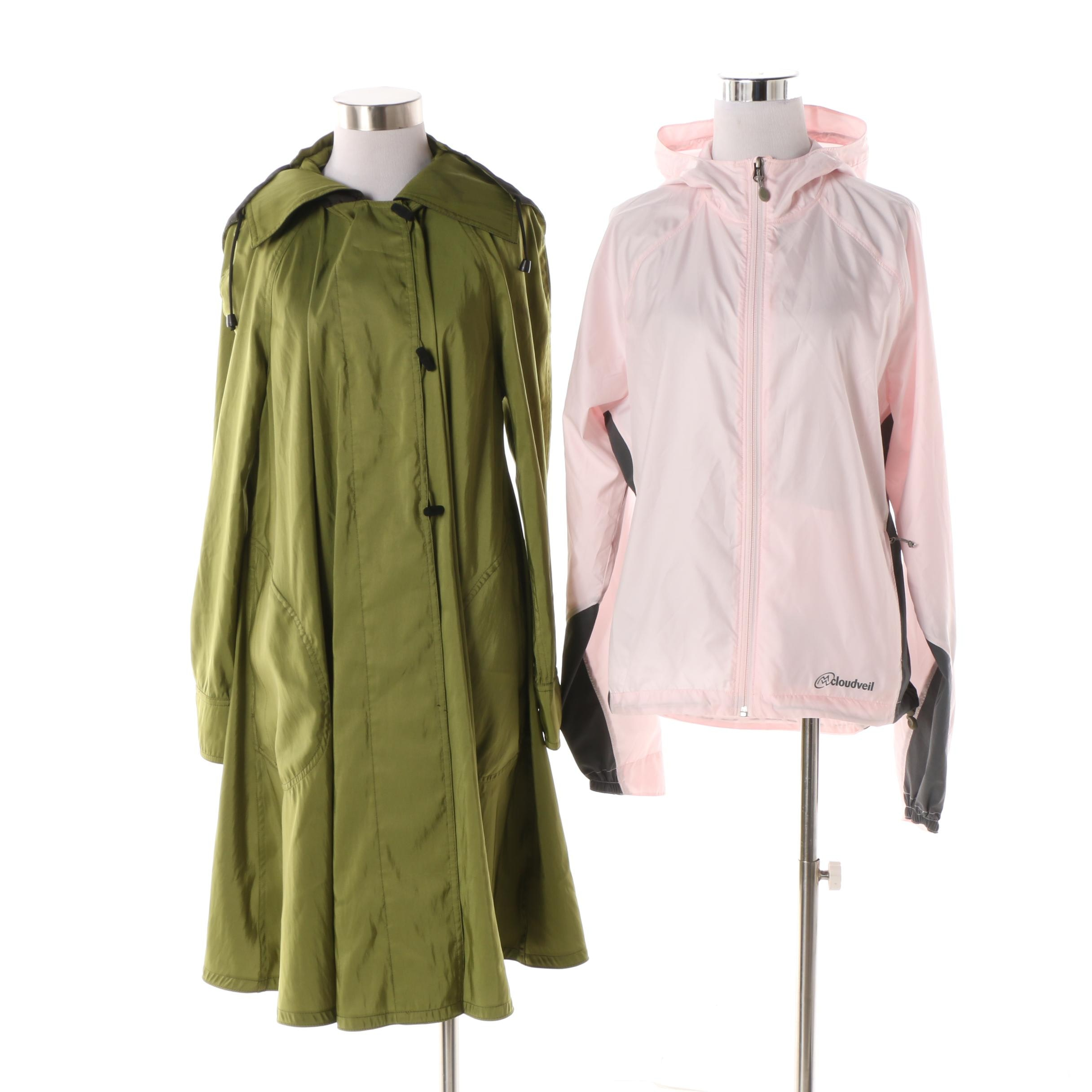 Women's Mycra Pac Green Raincoat and Cloudveil Pink Windbreaker