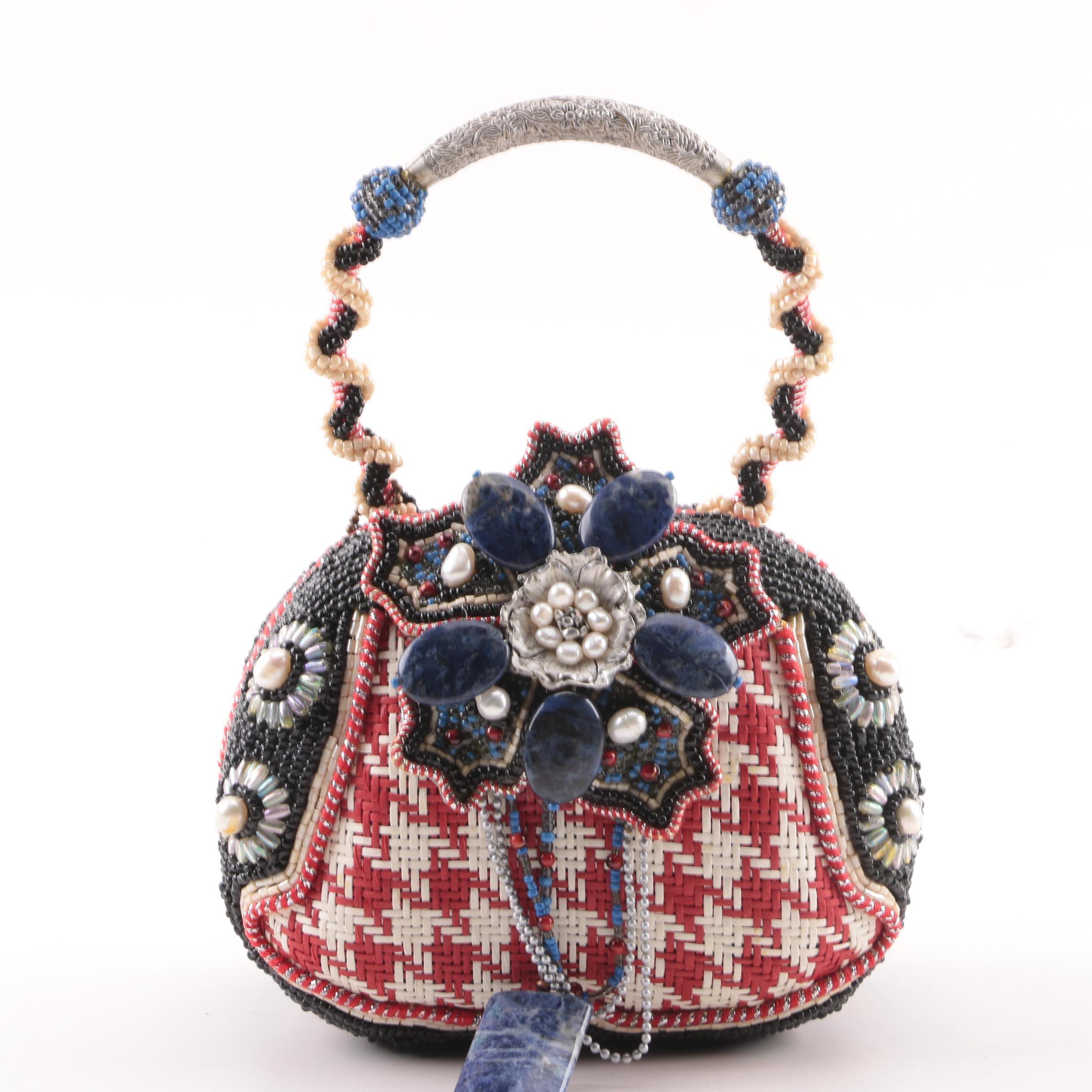 Mary Frances of San Francisco Woven and Beaded Handbag