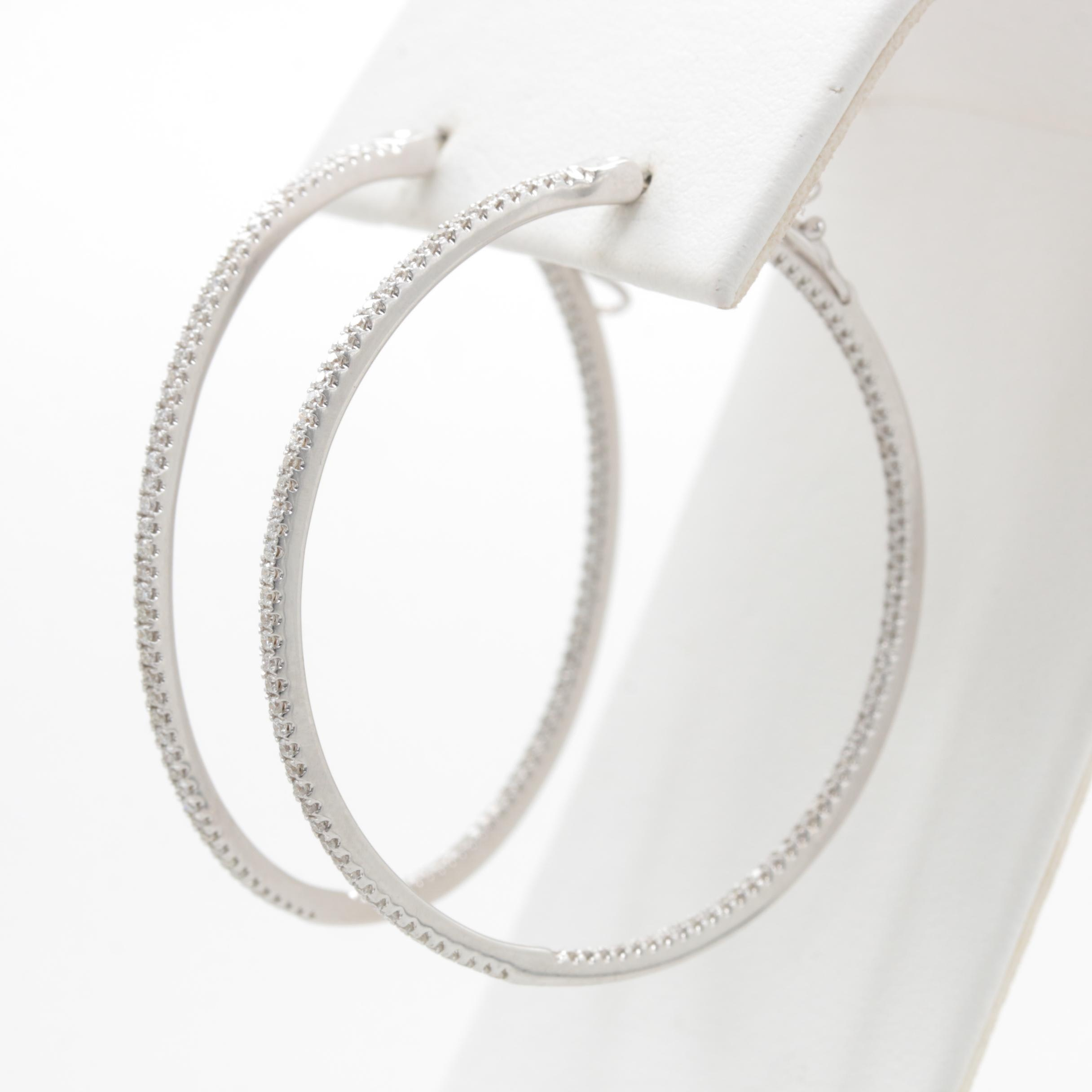 Ivanka Trump 18K White Gold 1.04 CTW Diamond Hoop Earrings