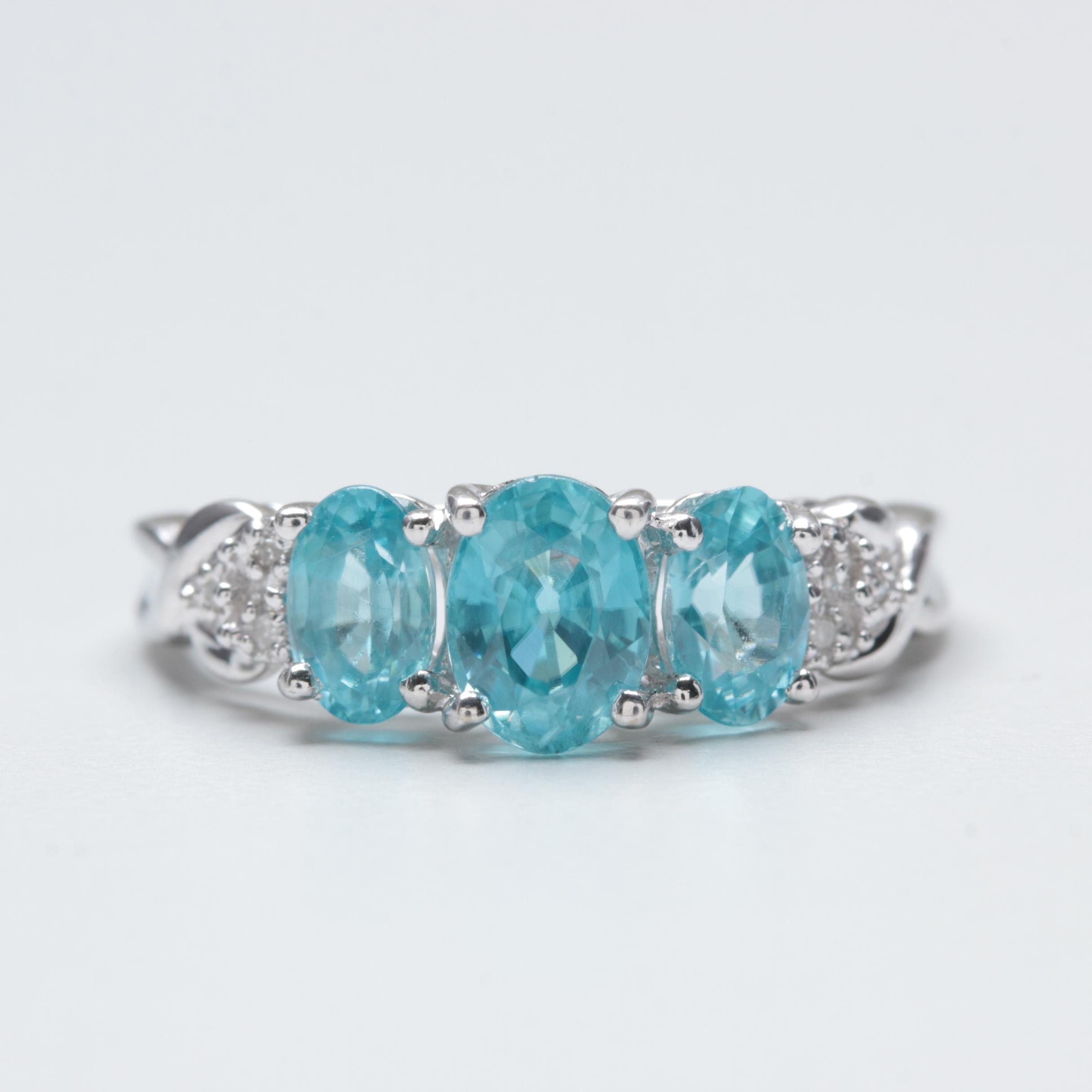 10K White Gold Zircon and Diamond Ring