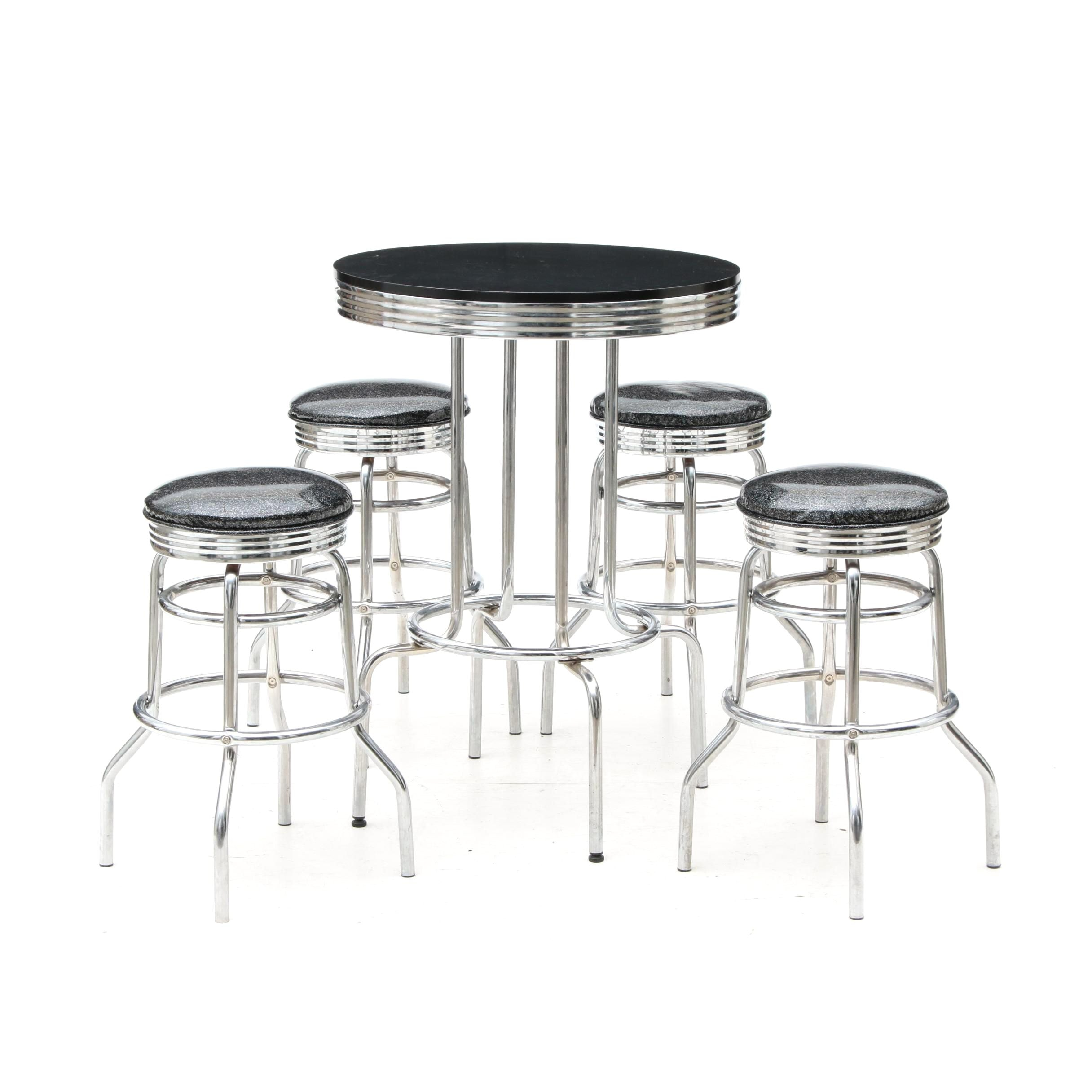 Contemporary Bar Table and Four Stools