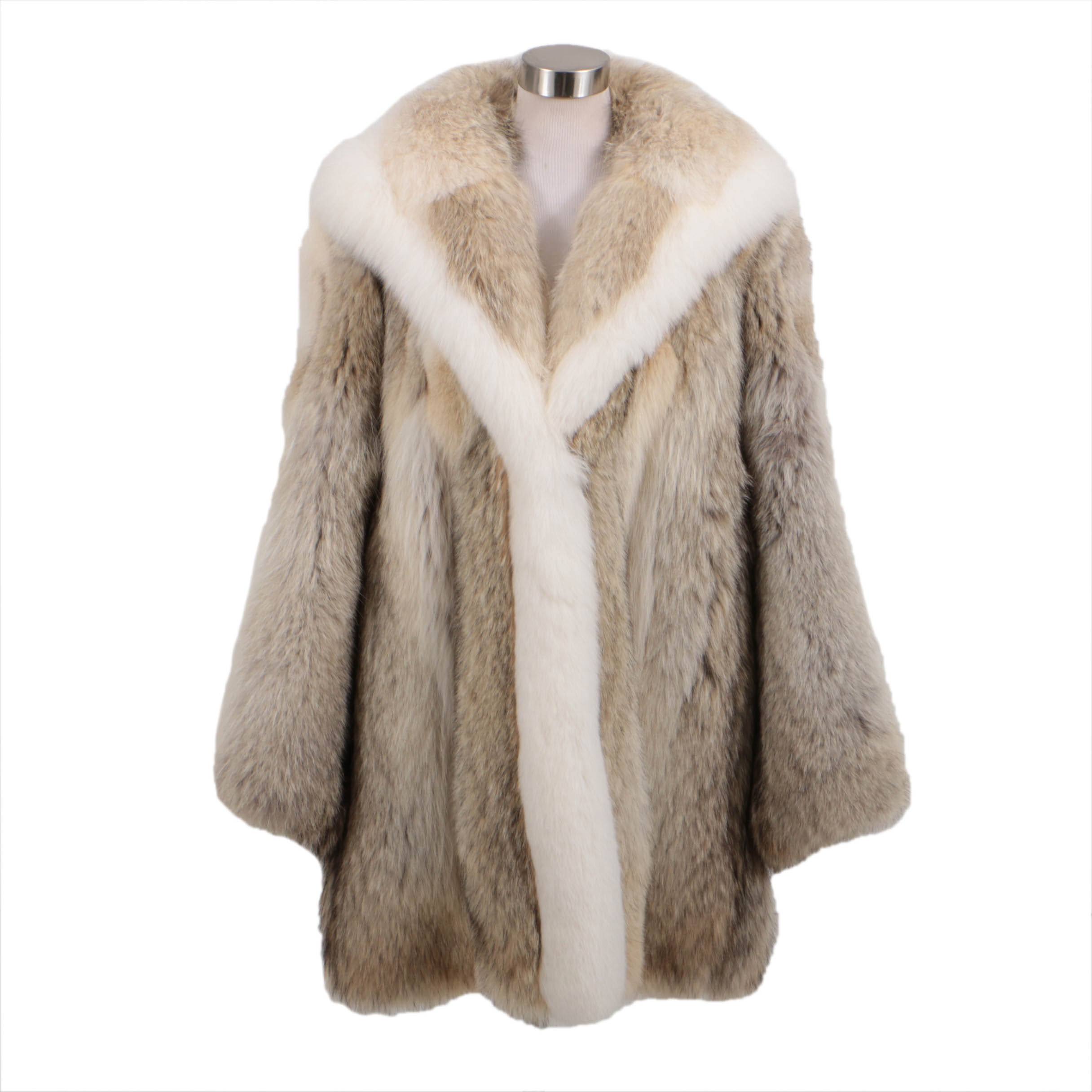 Coyote And Arctic White Fox Fur Hooded Parka