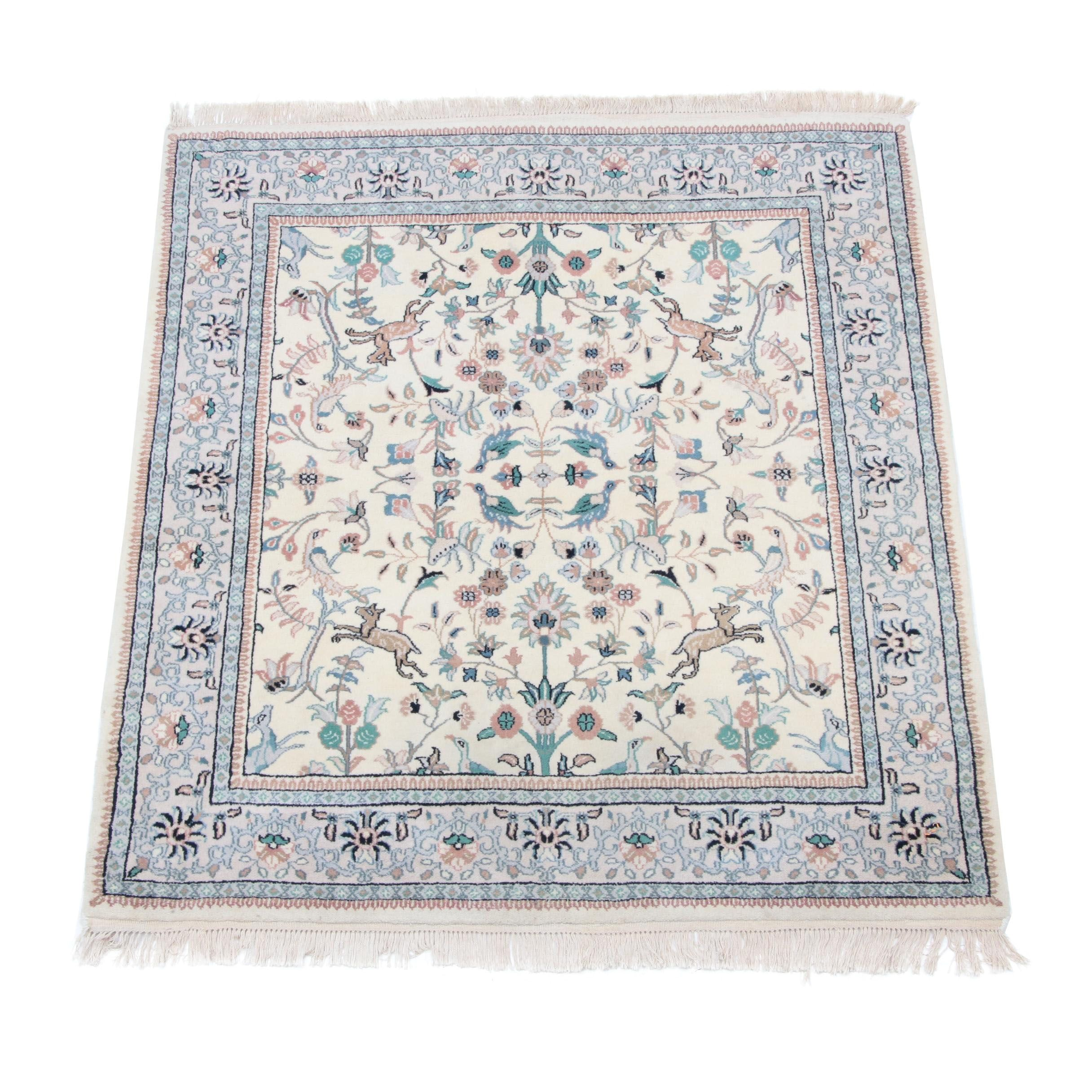 Hand-Knotted Indo-Persian Hunting Rug