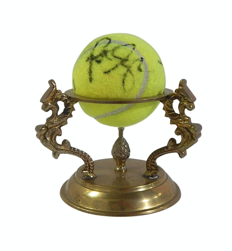 HOF Pete Sampras Signed Tennis Ball and Brass Stand