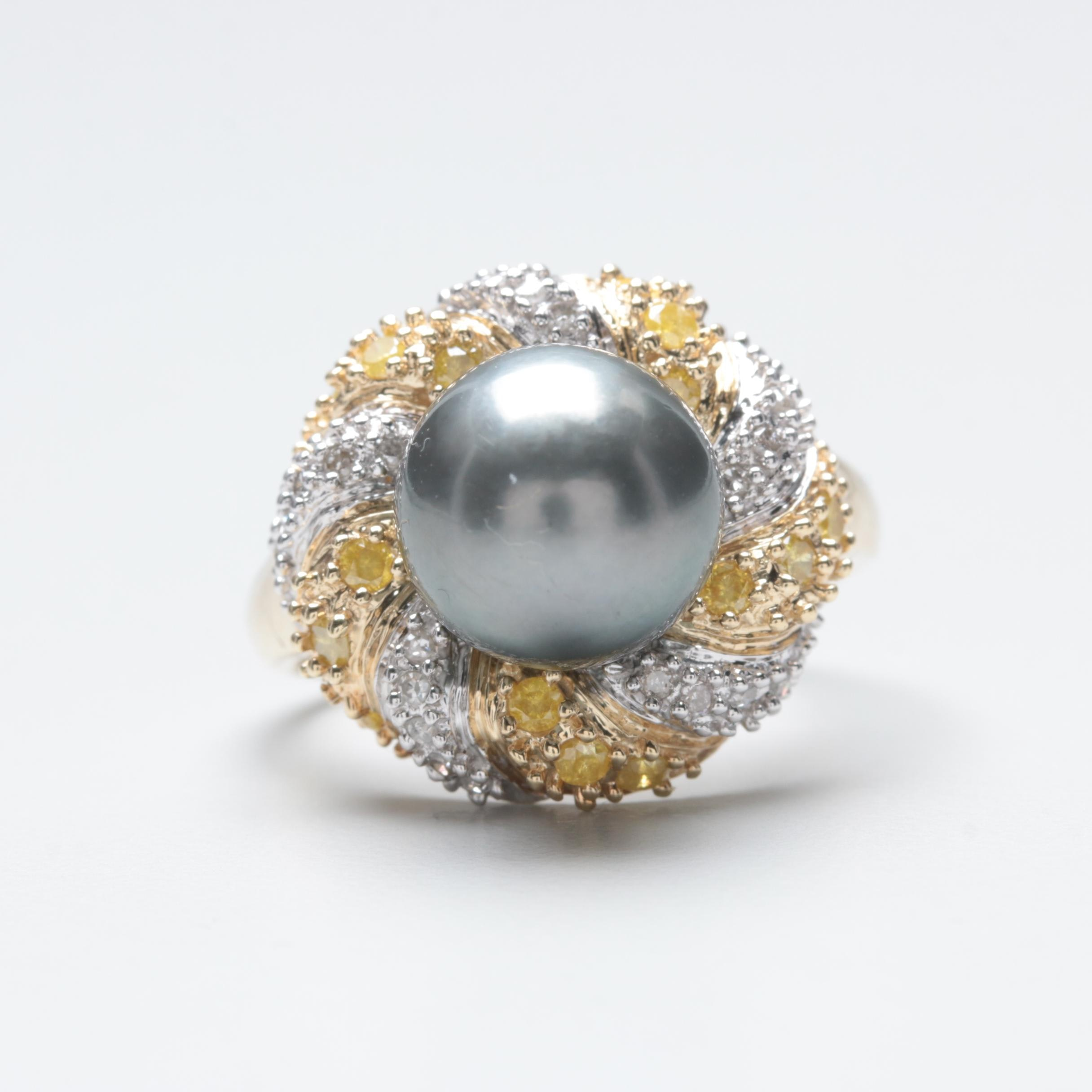 10K Yellow and White Gold Accented Pearl and Diamond Ring