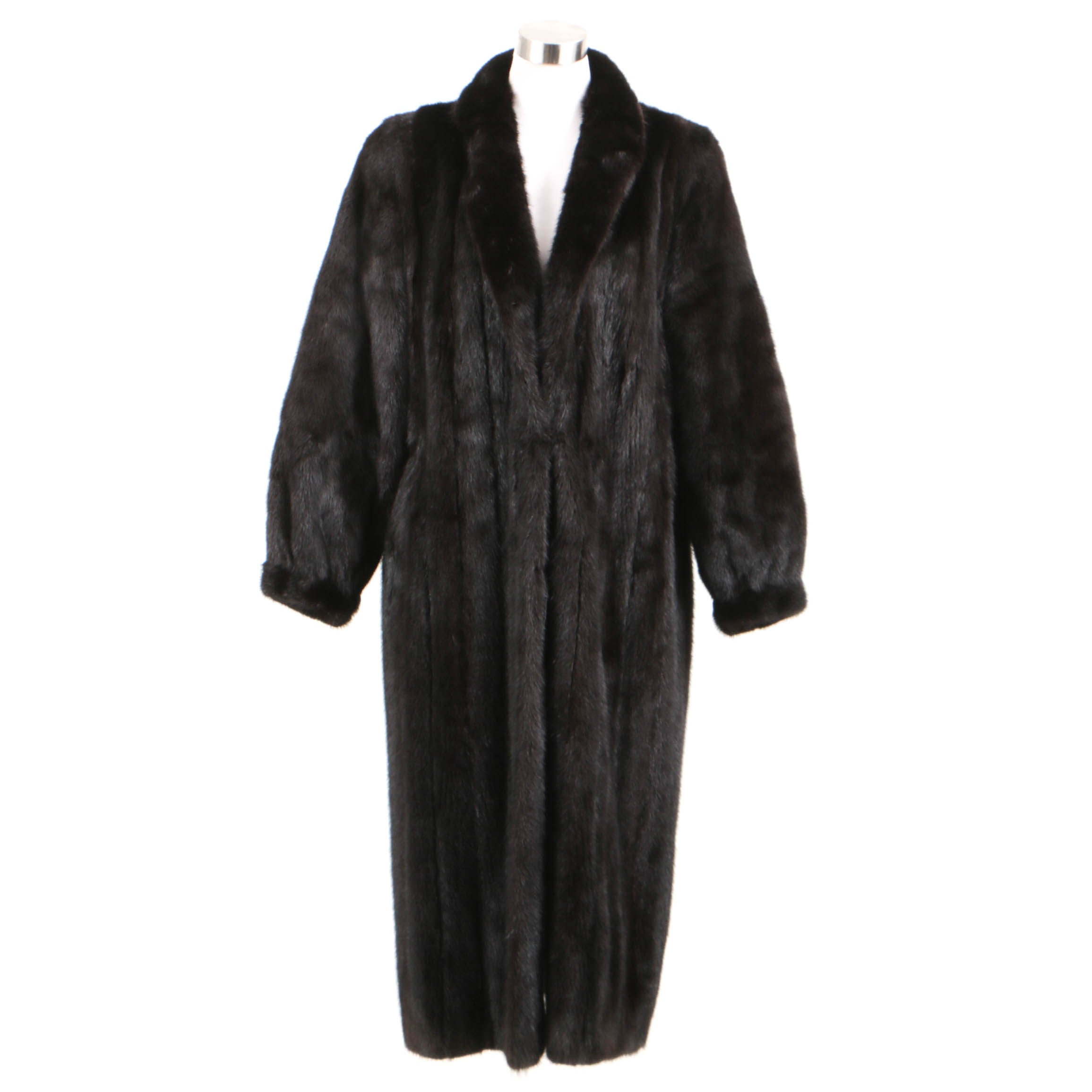 Full-Length Dark Brown Mink Fur Coat