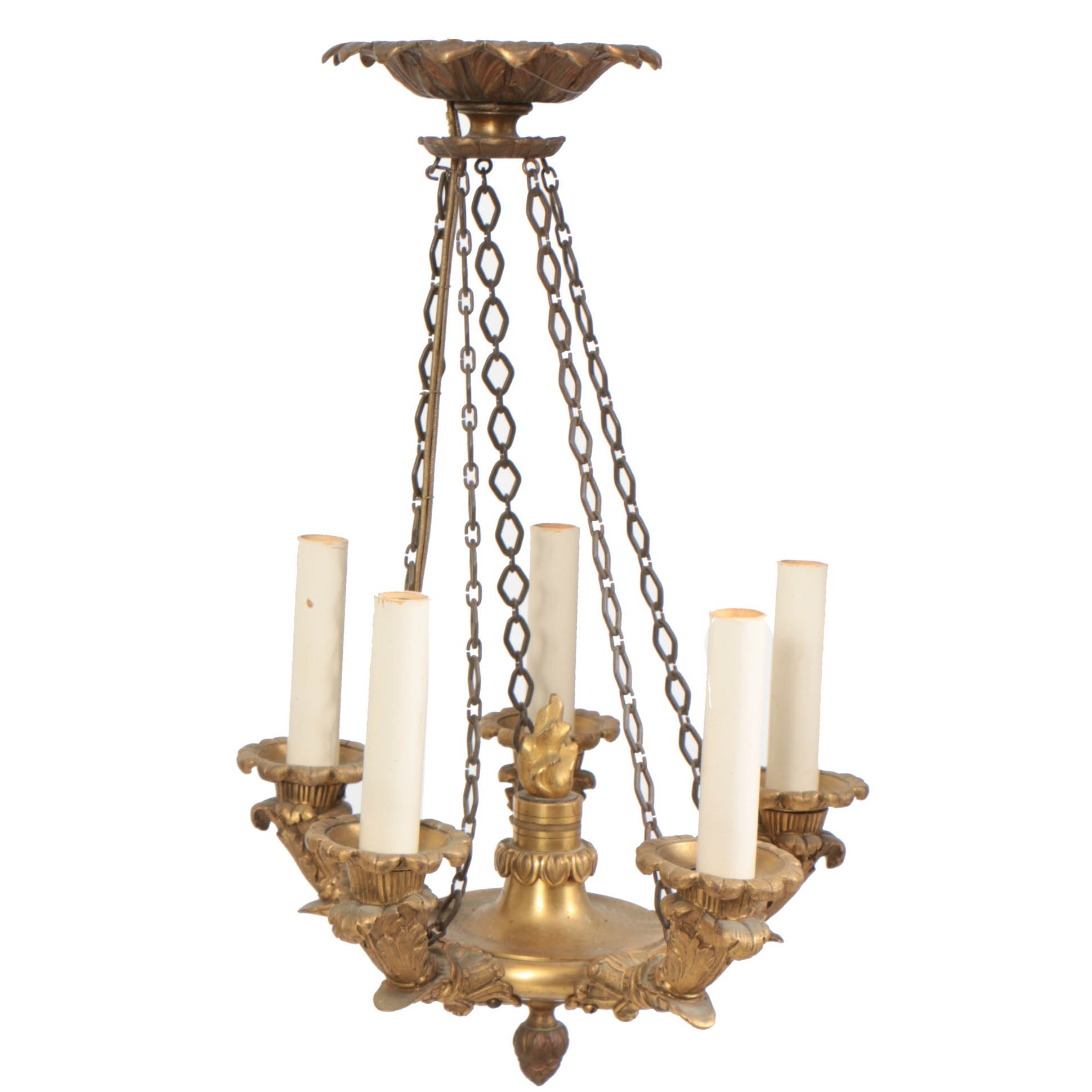 Early 19th Century Russian Neoclassic Bronze Doré Five Light Chandelier