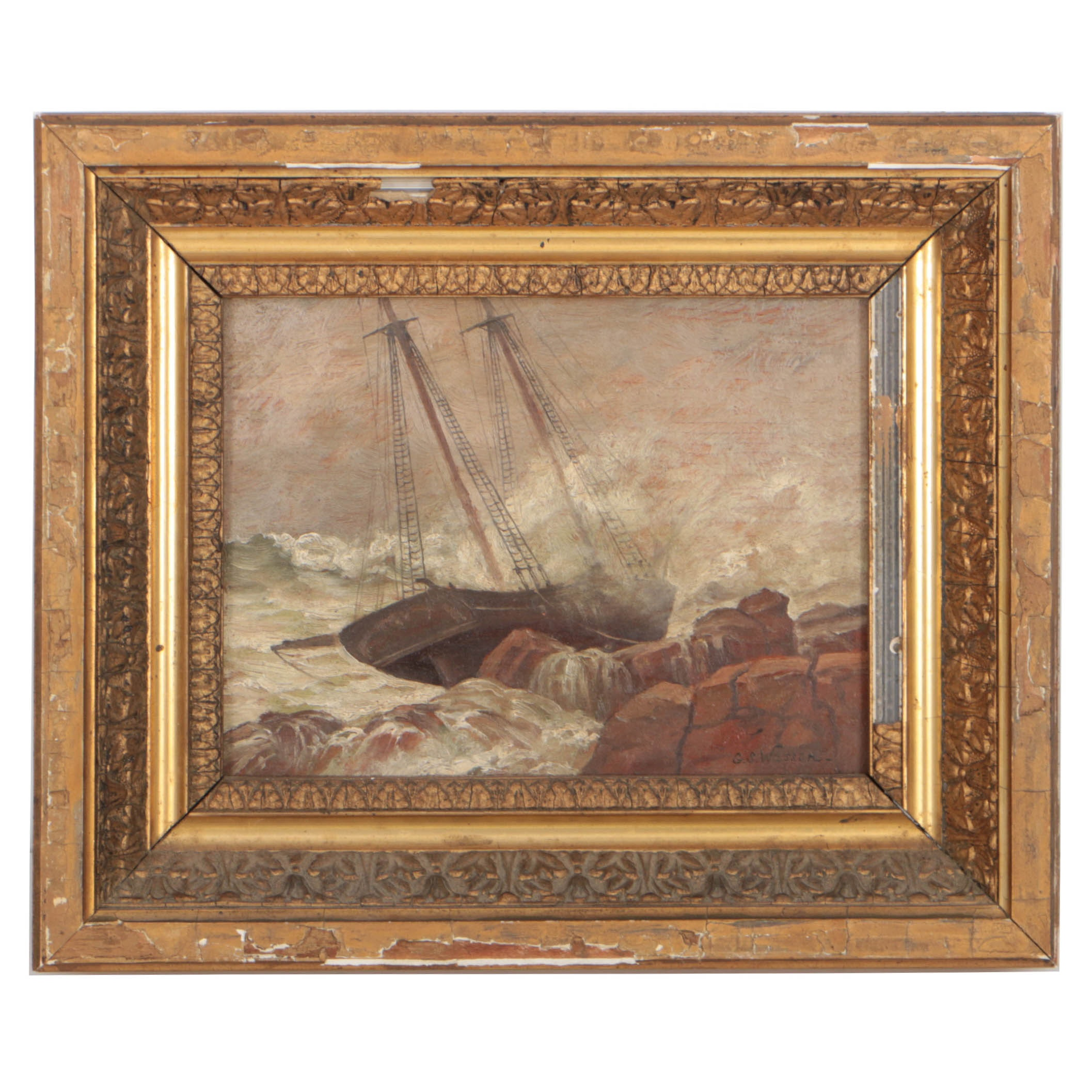 """George Savary Wasson Circa 1889 Oil Painting """"Wreck of Schooner 'Oliver Dyer'"""""""