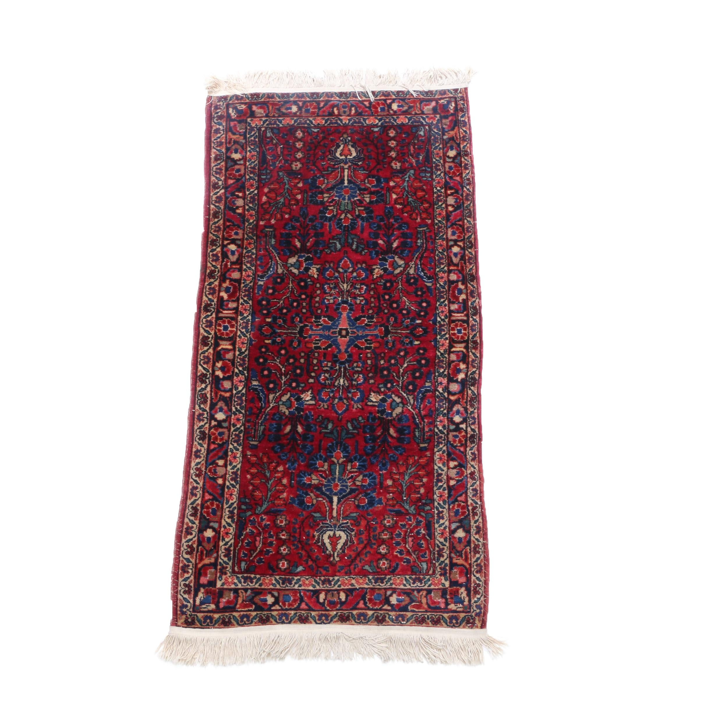 Hand-Knotted Persian Sarouk Accent Rug