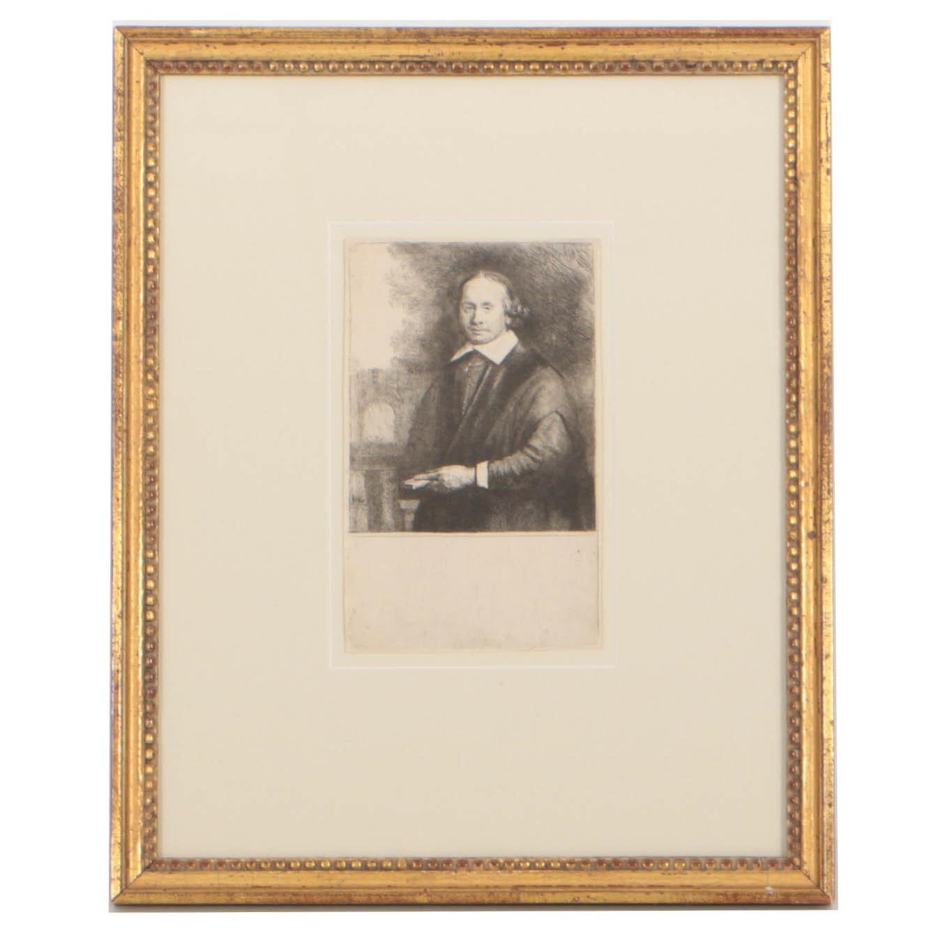 """Rembrandt van Rijn Etching on Laid Paper """"Jan Antonides van der Linden"""""""