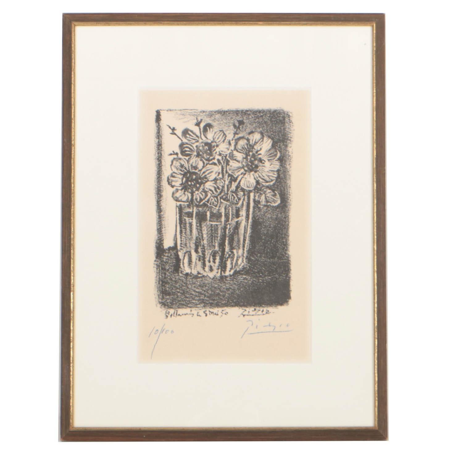 """Pablo Picasso 1950 Transfer Lithograph """"Fleurs dans un vase (sans la lettre)"""""""