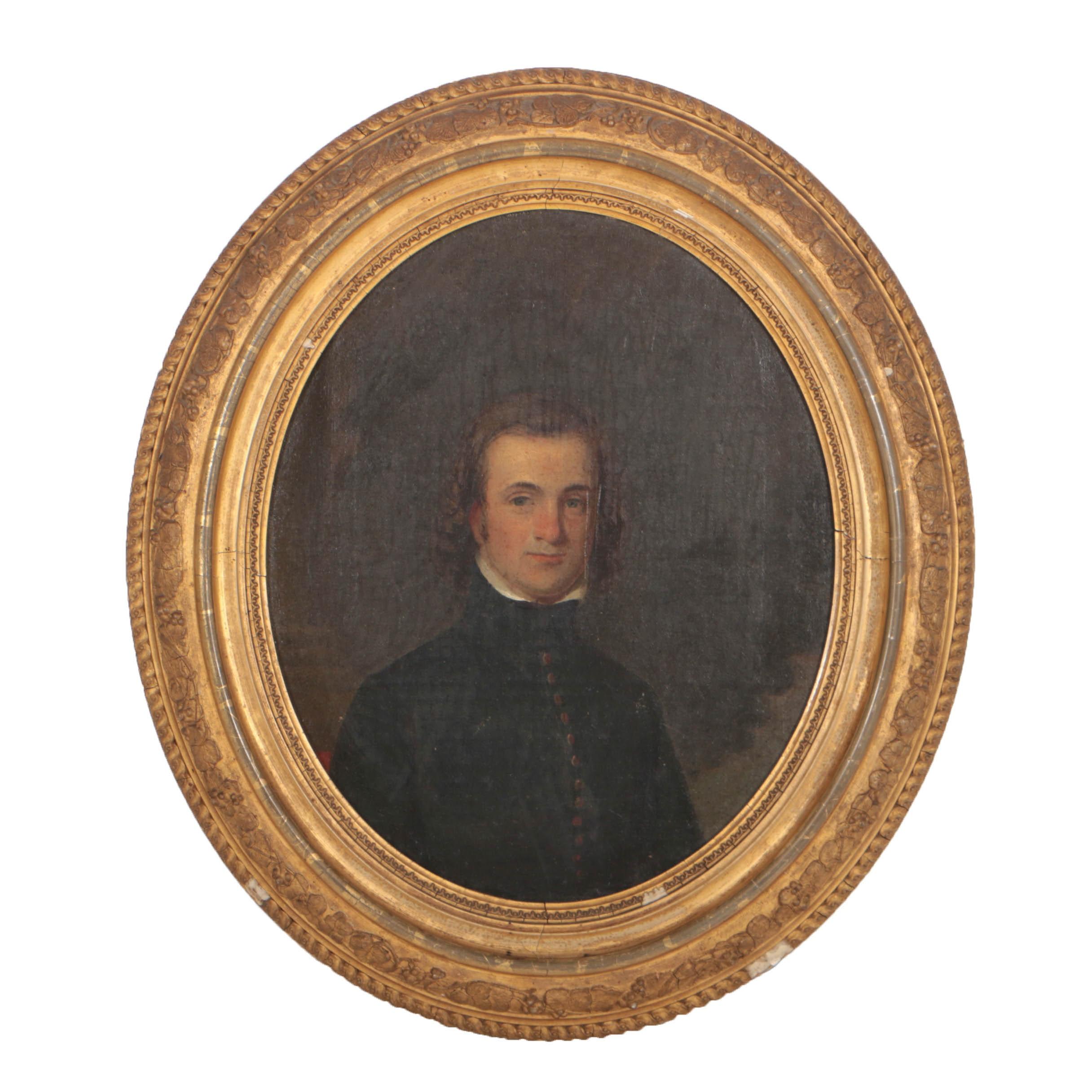 American School 19th Century Oil Portrait on Board of a Gentleman