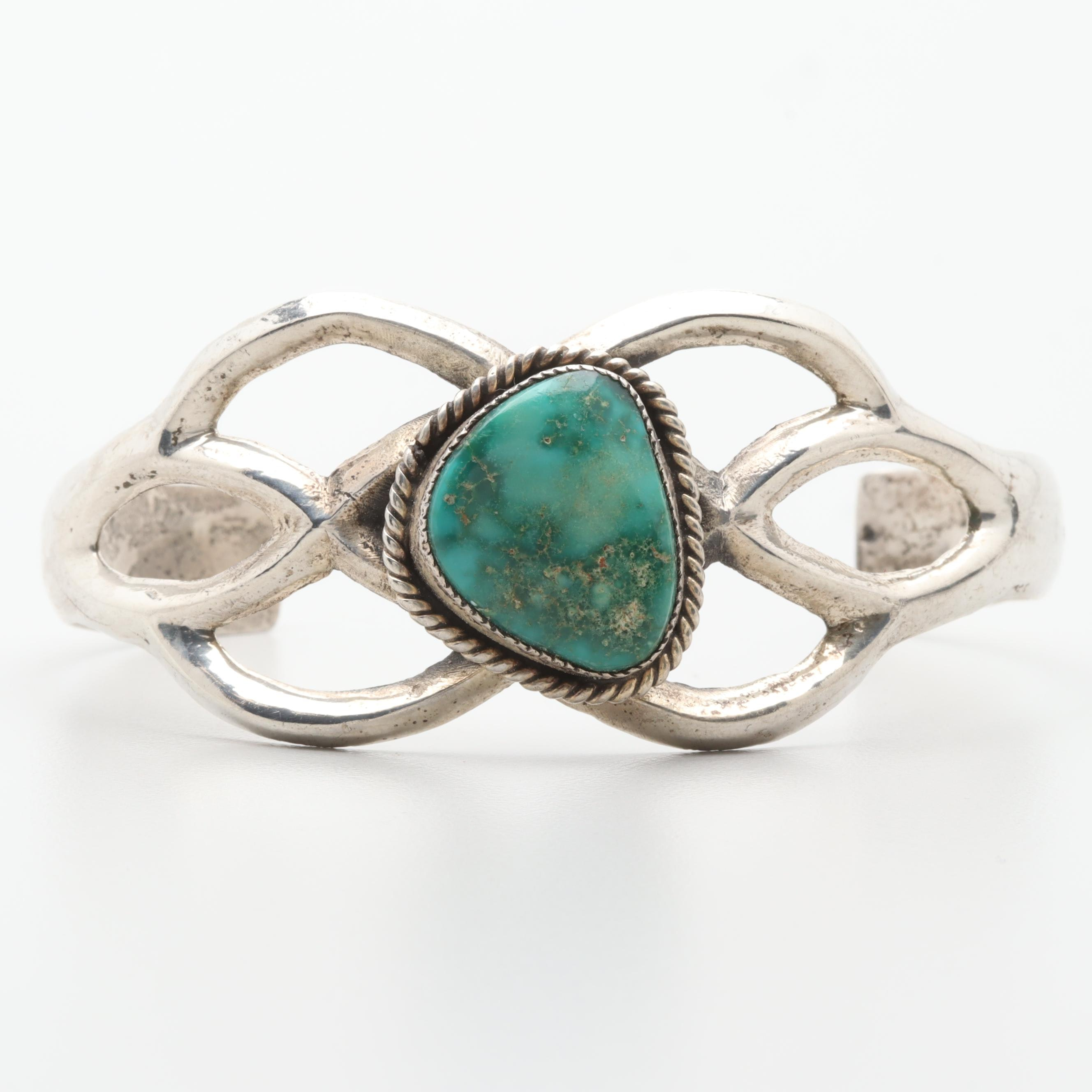 Sterling Silver Turquoise Sand Cast Cuff Bracelet