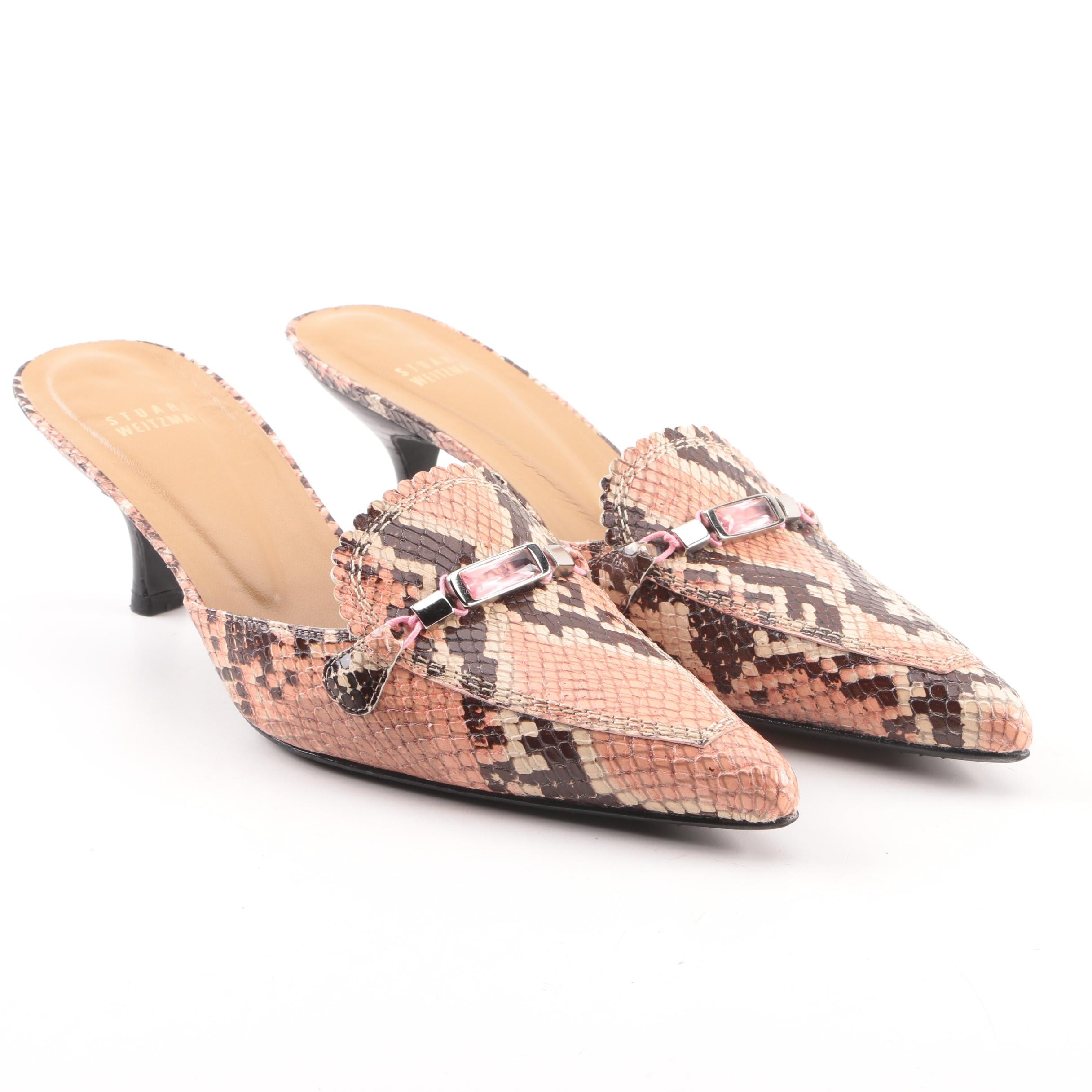 Stuart Weitzman Wizzie Rose Amazonia Python Embossed Leather Mules