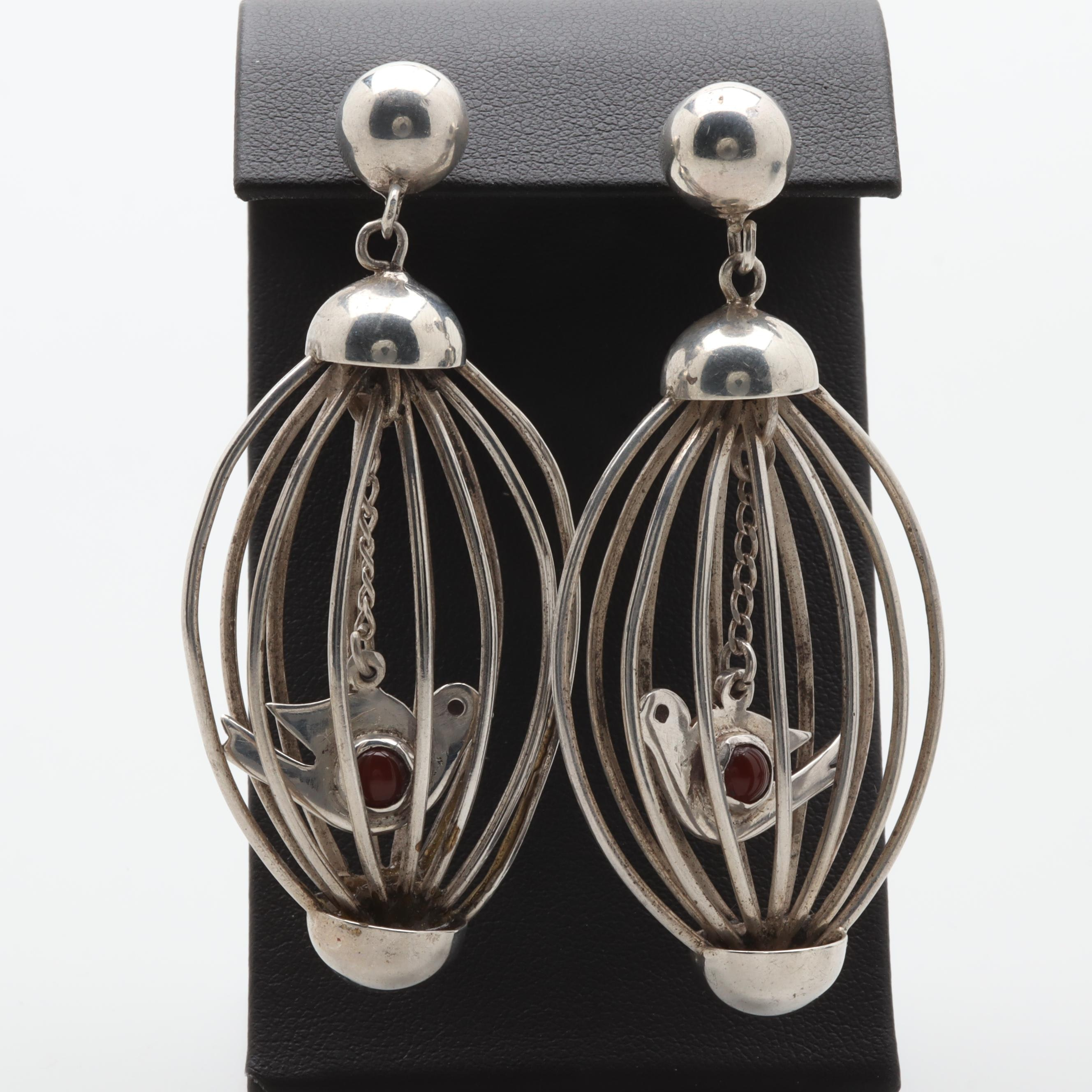 Mexican Sterling Silver Carnelian Bird and Cage Motif Earrings
