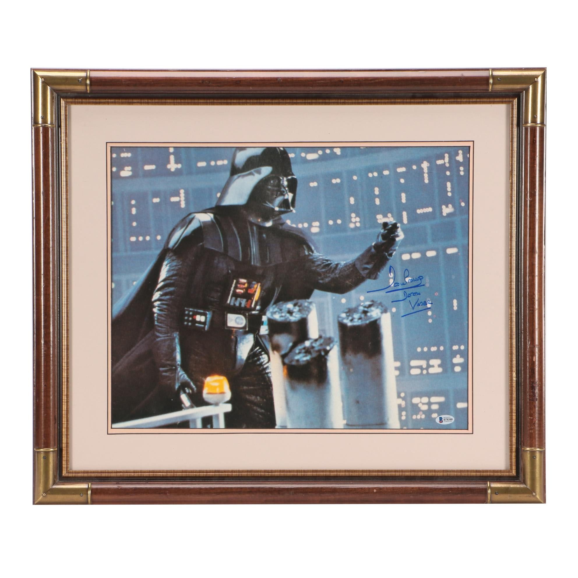 "David Prowse ""Darth Vader"" Signed Star Wars Matted and Framed Display COA"