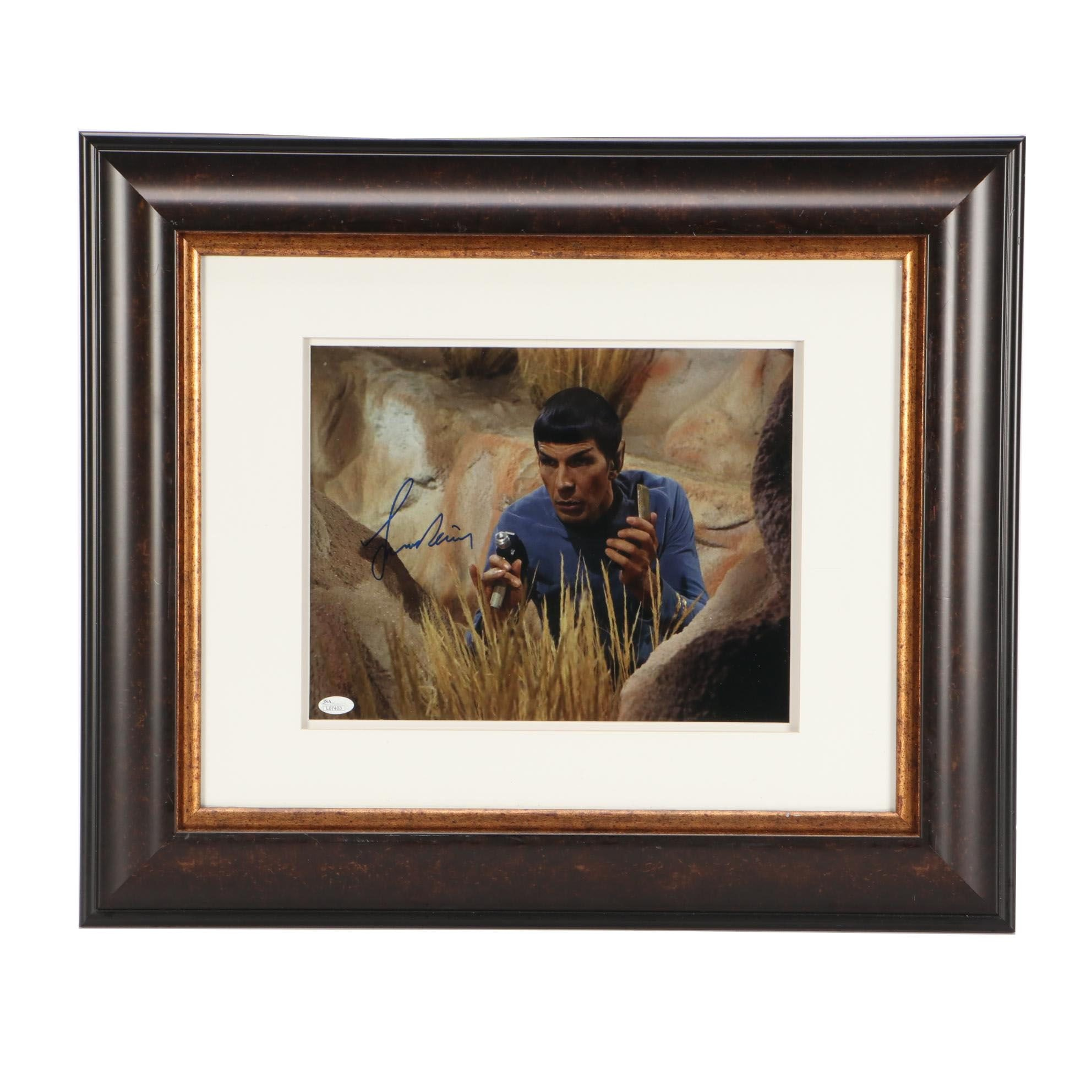 """Leonard Nimoy """"Mister Spock"""" Signed Matted and Framed Display JSA COA"""