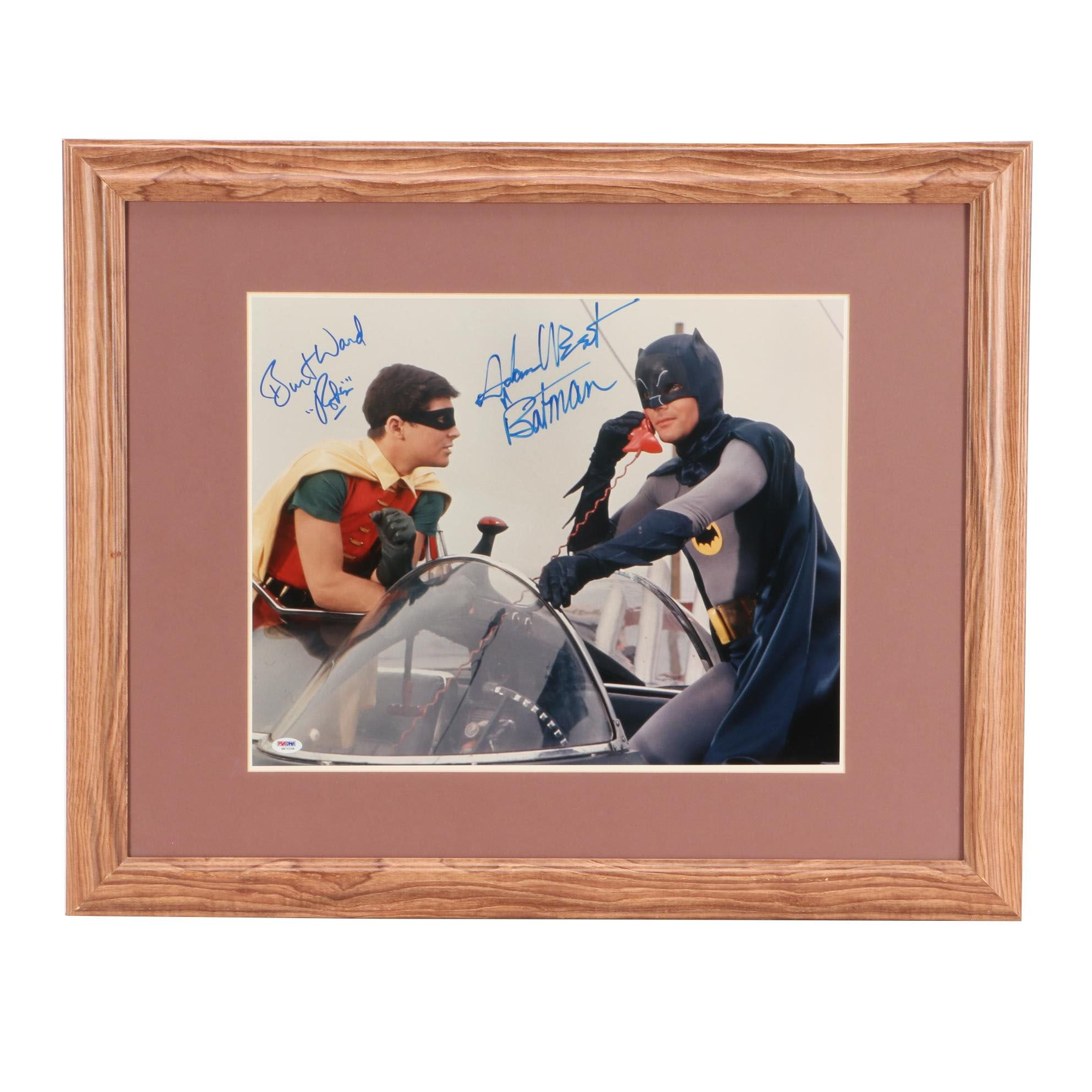 Oversized Batman Adam West and Robin Burt Ward Signed Framed Display PSA/DNA COA