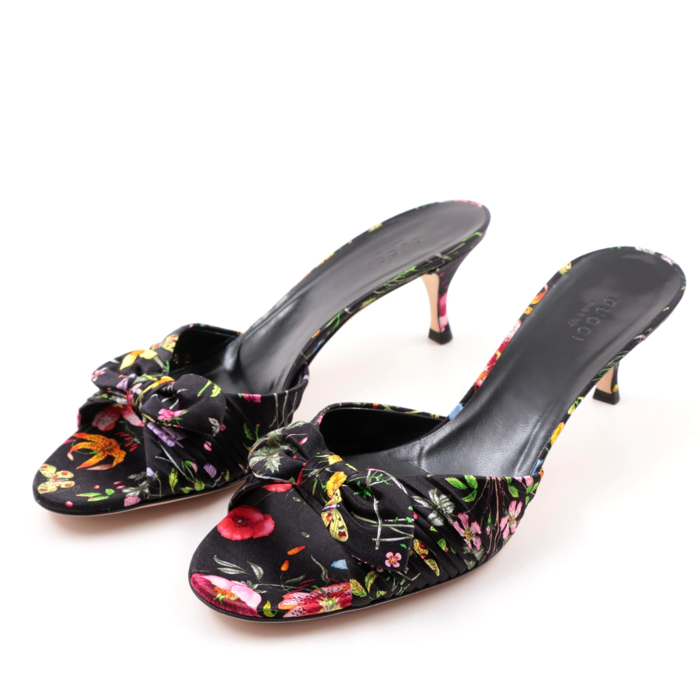 Gucci Raso Floral Nero Silk Kitten Heel Slide Sandals