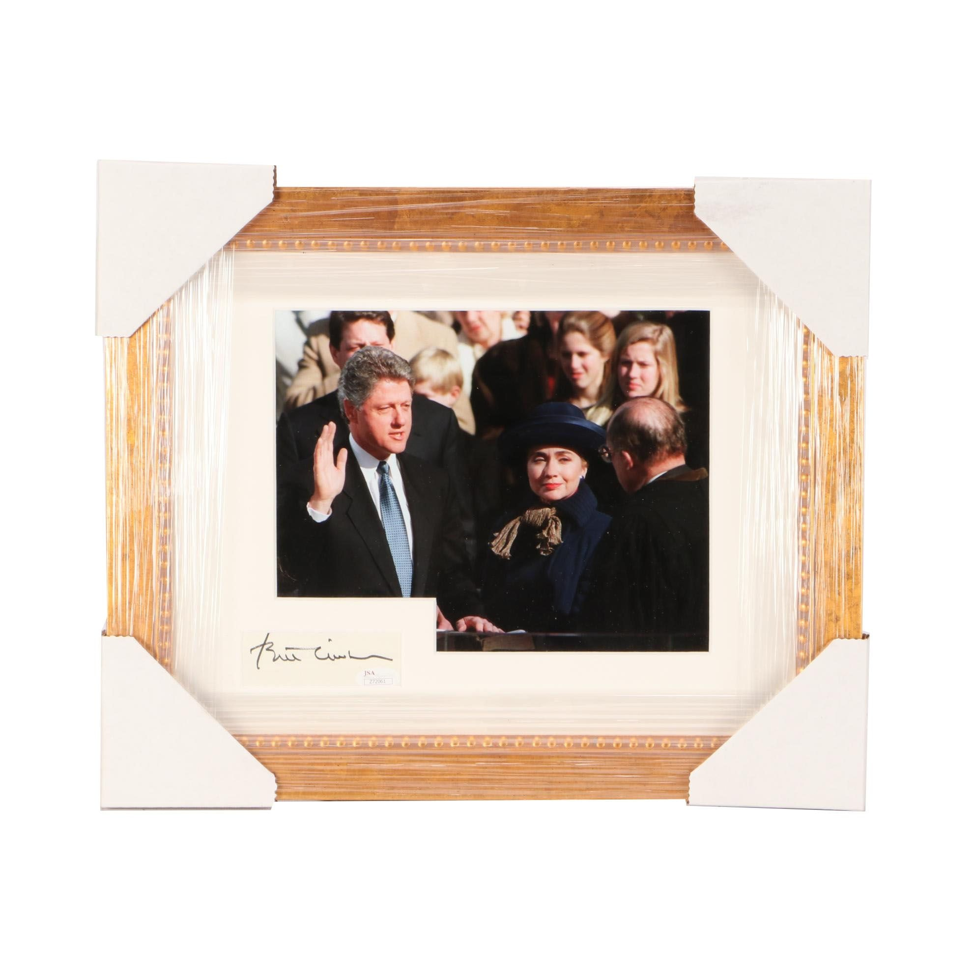 Former President Bill Clinton Signed Matted and Framed Display JSA COA