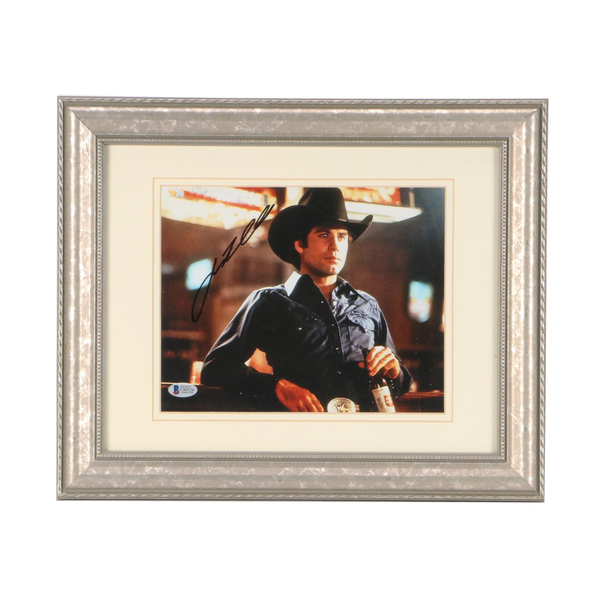"John Travolta Signed Blockbuster Movie ""Urban Cowboy"" Matted Framed Display COA"