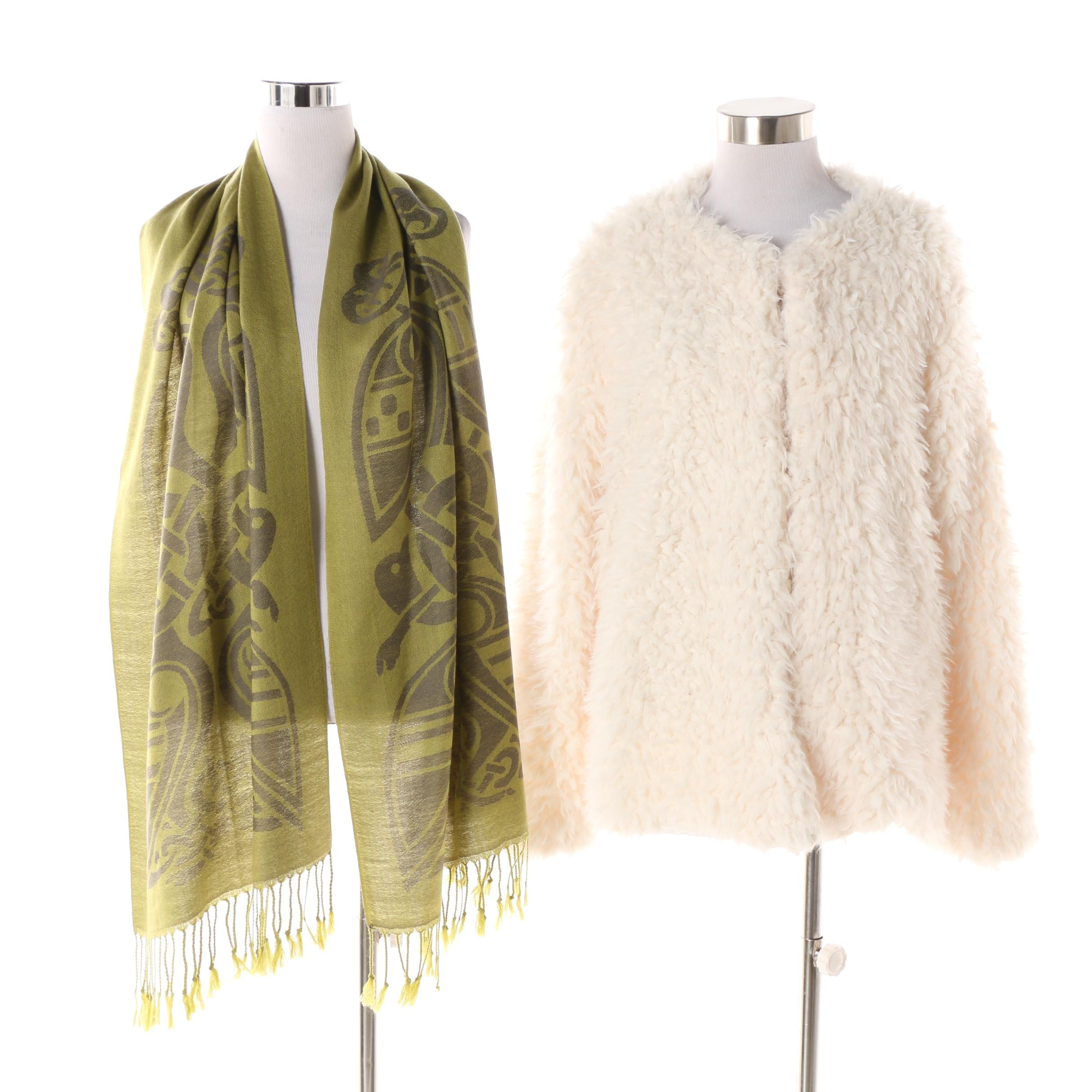 Coco + Carmen Textured Jacket and Patrick Francis Designs Wool Scarf
