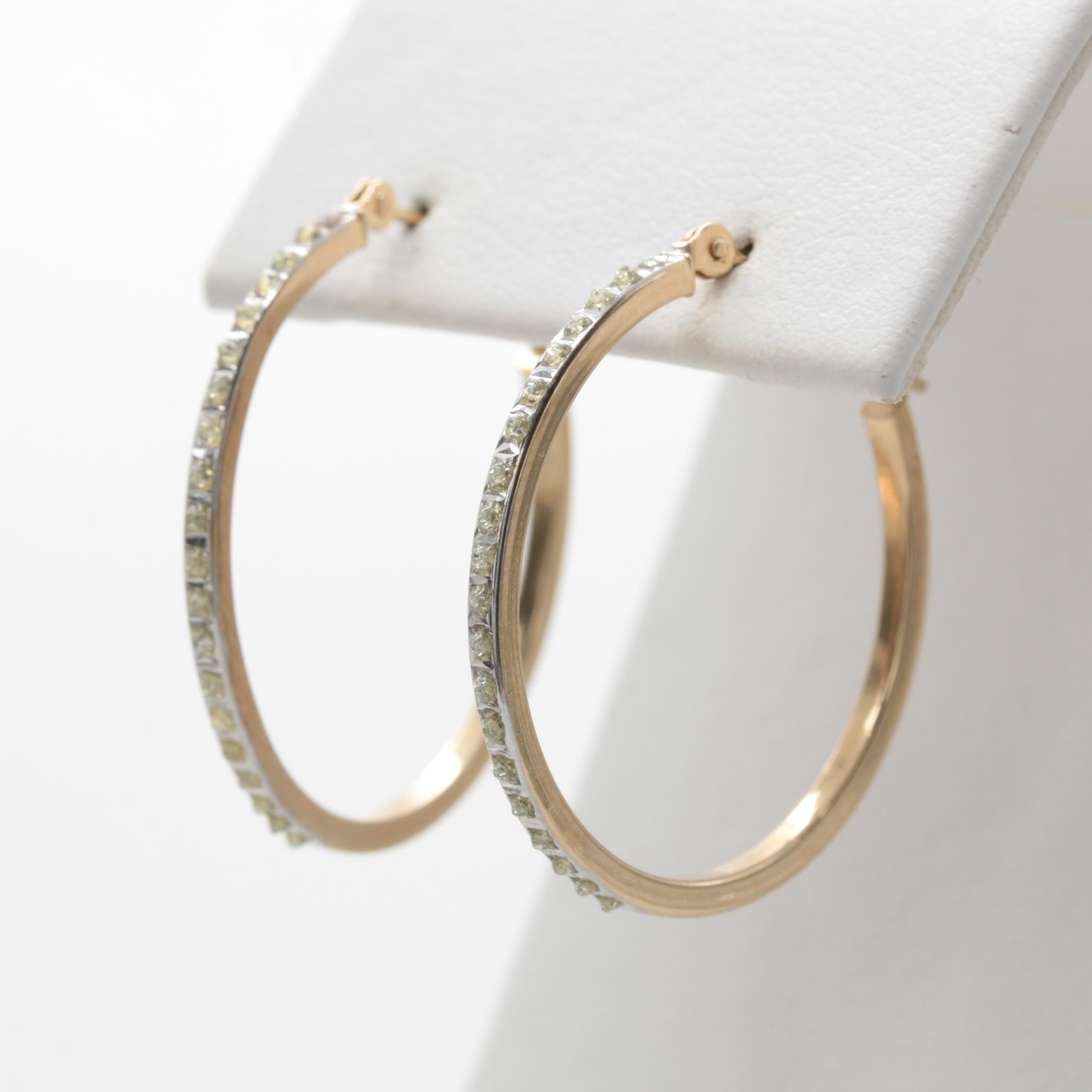 14K Yellow Gold Glitter in Glue Hoop Earrings