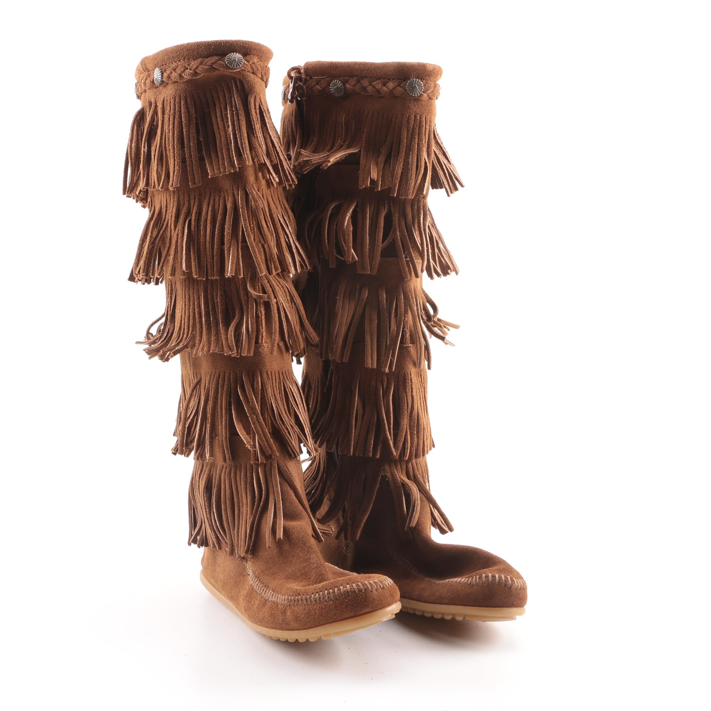 Women's Minnetonka Brown Suede Fringe Moccasin Tall Boots