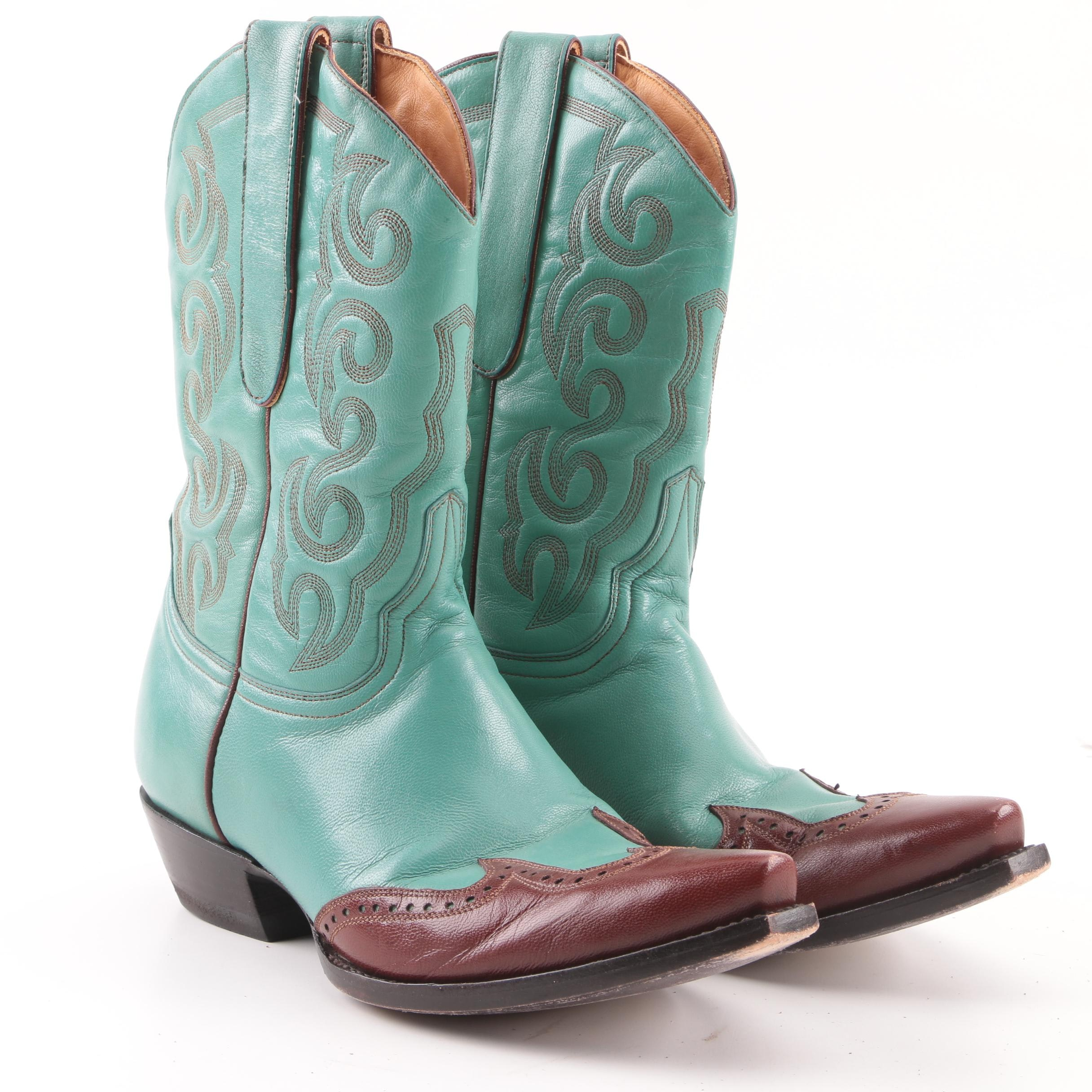 Women's The Old Gringo Brown and Turquoise Leather Western Boots