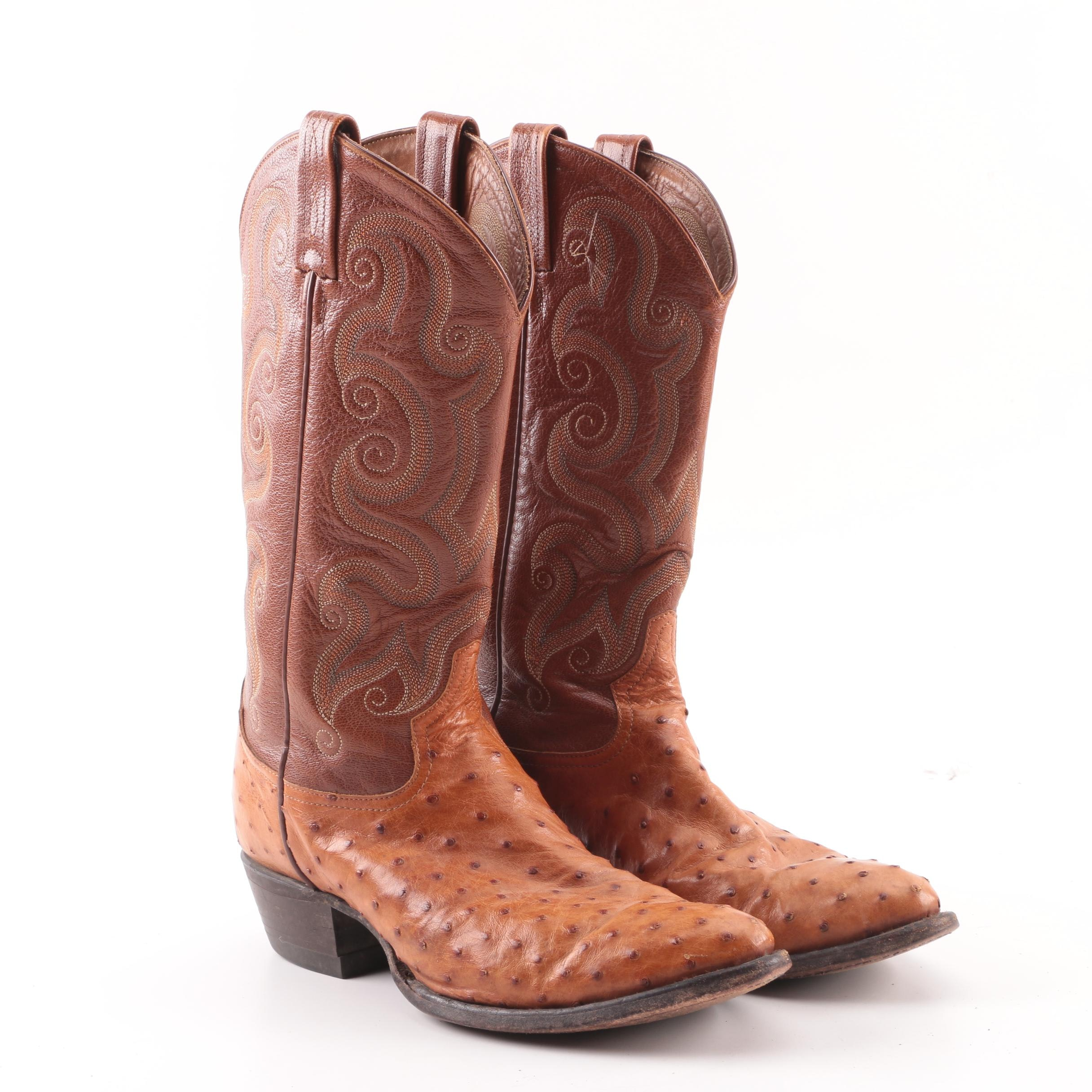 Women's Tony Lama of El Paso, Texas Brown Leather and Ostrich Skin Western Boots