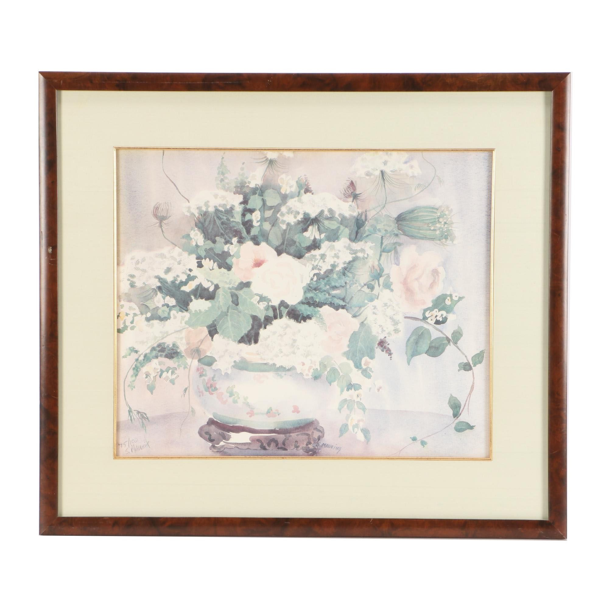 S. Manning Limited Edition Offset Lithograph of Floral Arrangement