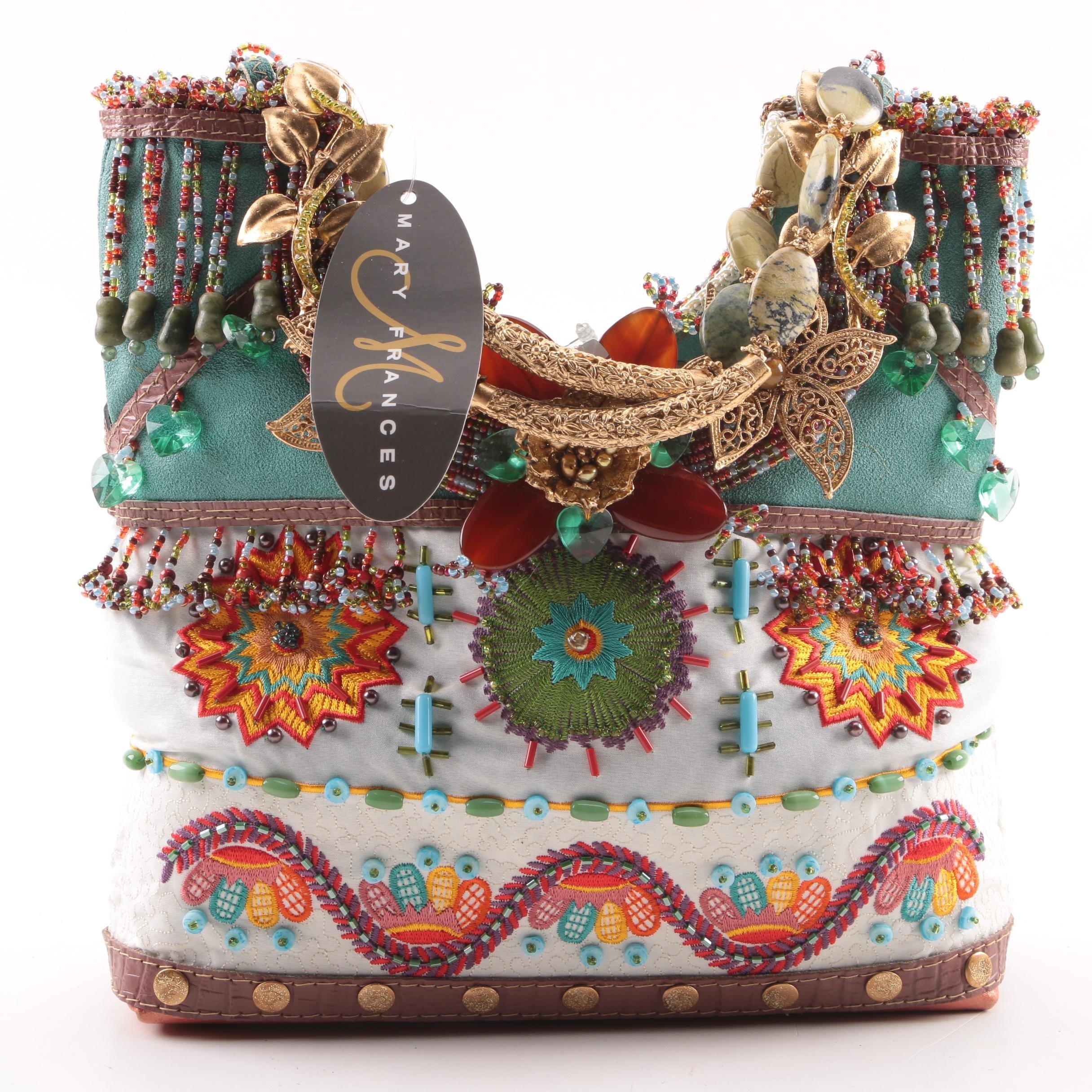 Mary Frances of San Francisco Beaded Handbag with Floral Filigree Accents