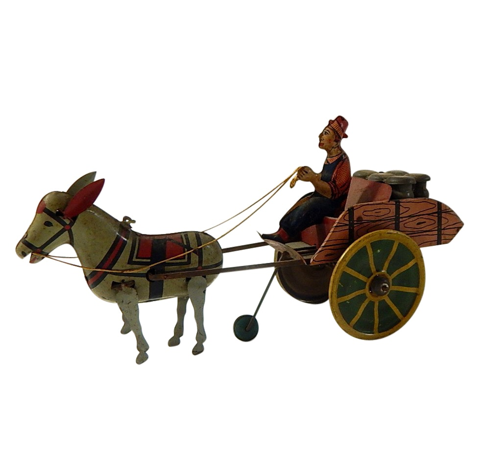 "Vintage ""Hee Haw"" Wind Up Donkey and Cart Toy by Unique Art"