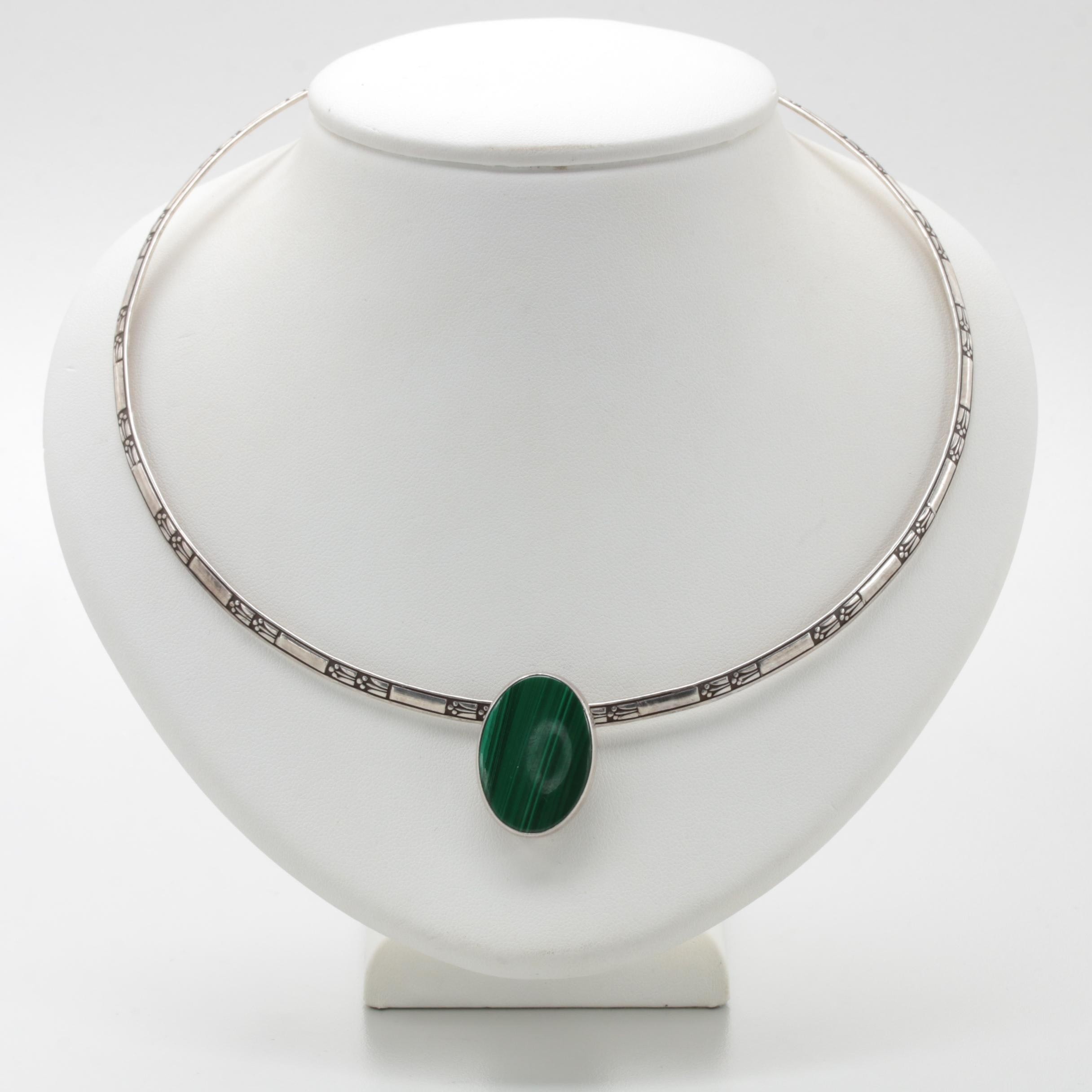 Ed Levin Sterling Silver Malachite Cuff Necklace