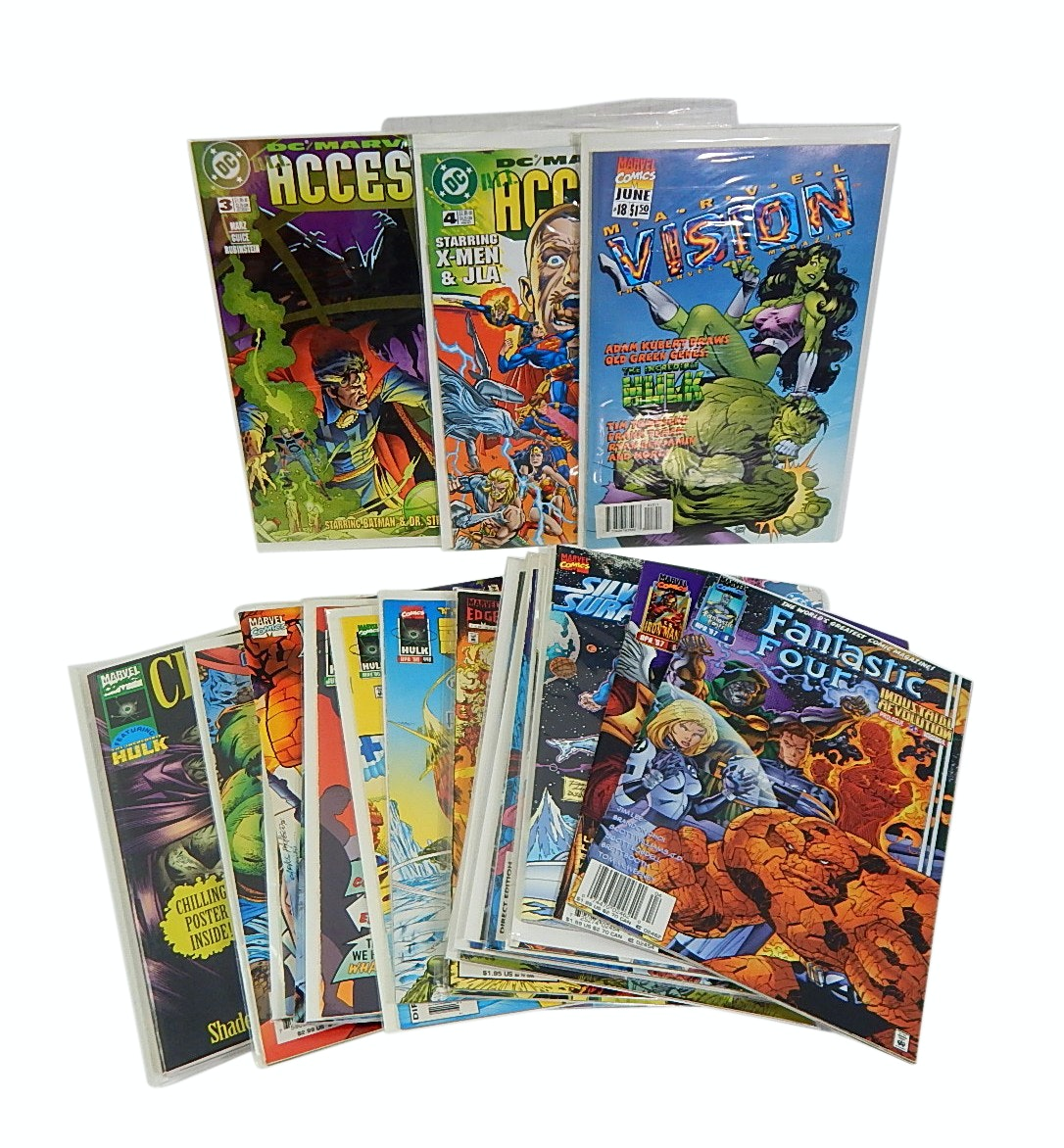 1990s Marvel and DC Comics with Fantastic Four, Iron Man - 22 Count Lot