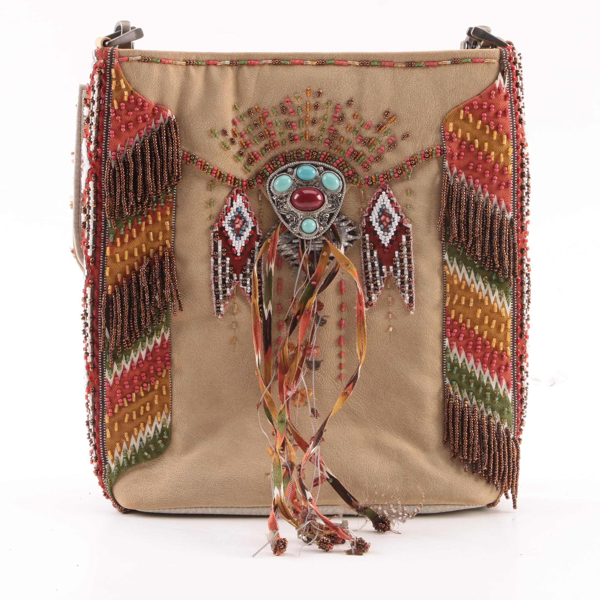 Mary Frances Pow Pow Southwestern Style Beaded Leather Shoulder Bag