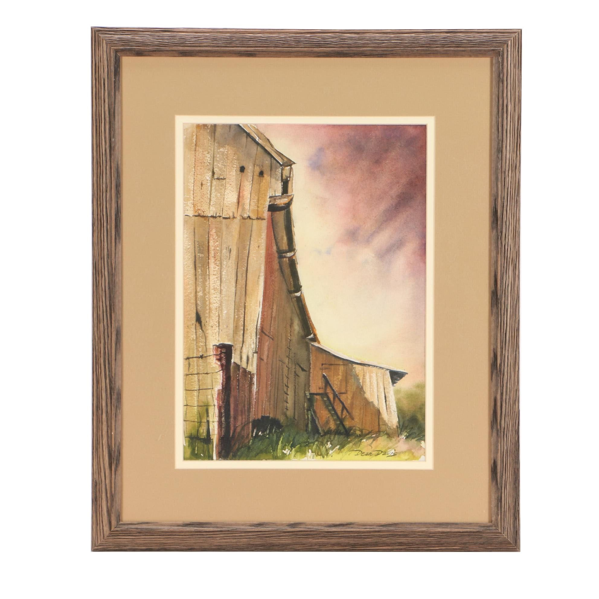 "Dean Davis Watercolor Painting ""Rural Sunset"""