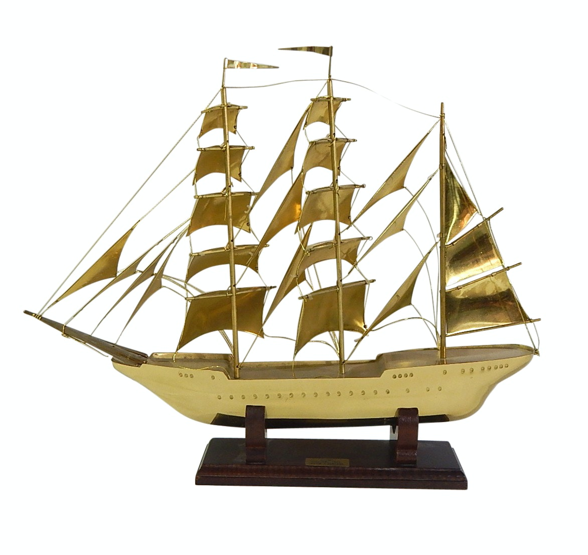 Reproduction Sagres Portugal 1937 Brass Sail Ship Model on Wood Base