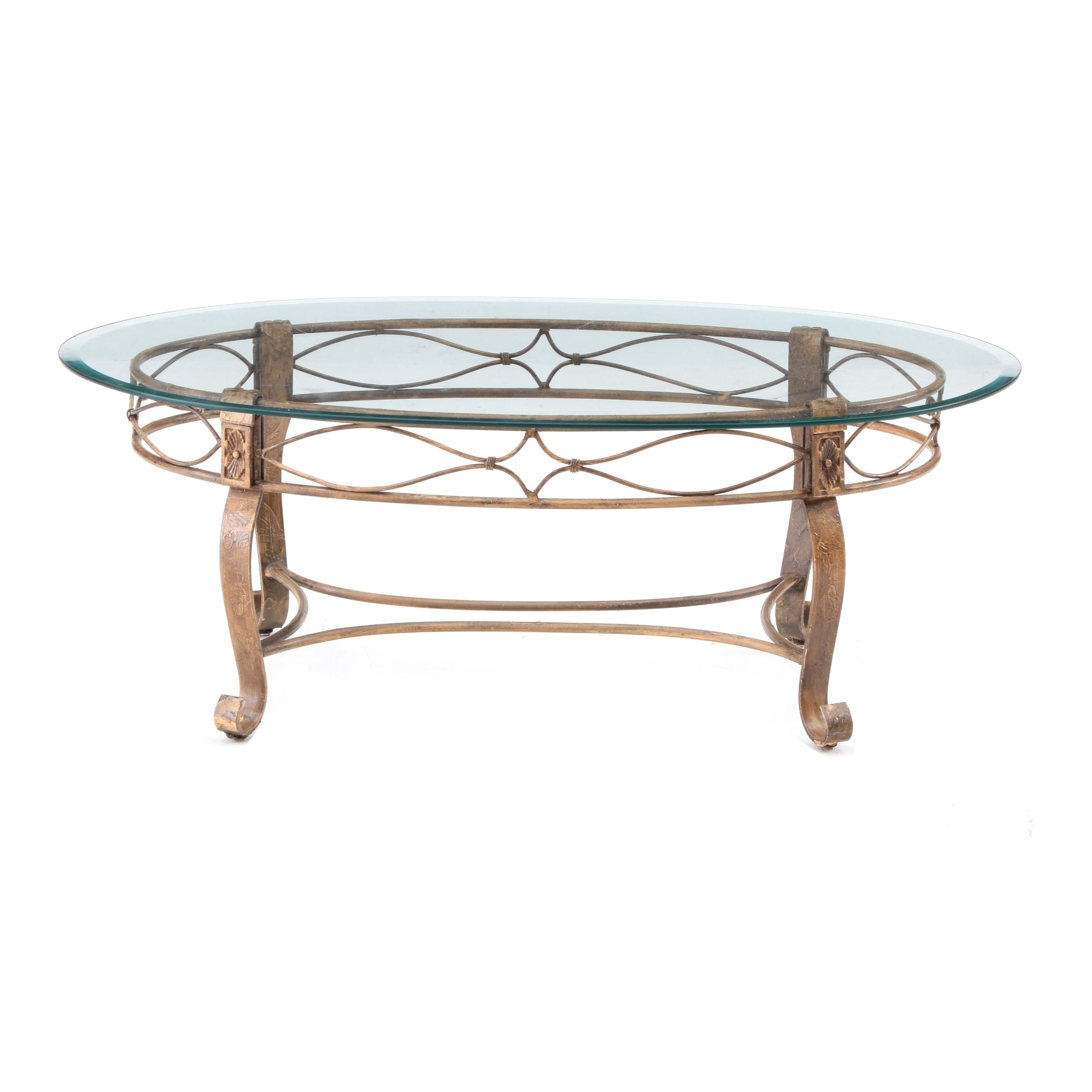 Gold Tone Metal Coffee Table With Glass Top
