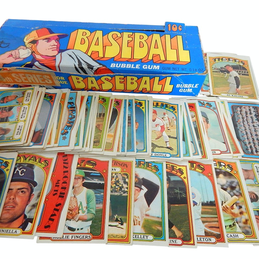 1972 Topps Baseball Card Collection With Original 1972 Topps Box Over 60 Cards