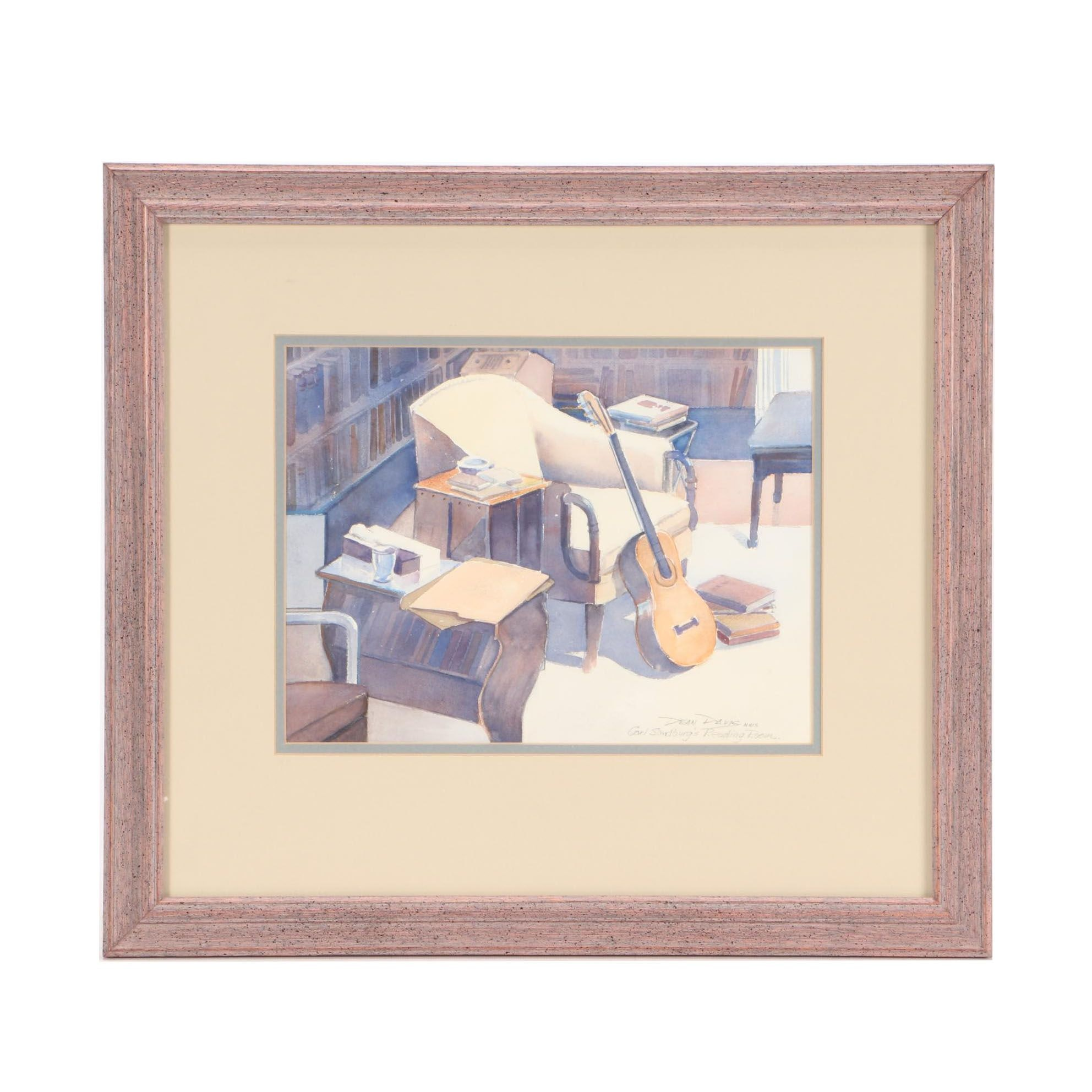 "Dean Davis Watercolor Painting ""Carl Sandburg's Reading Room"""