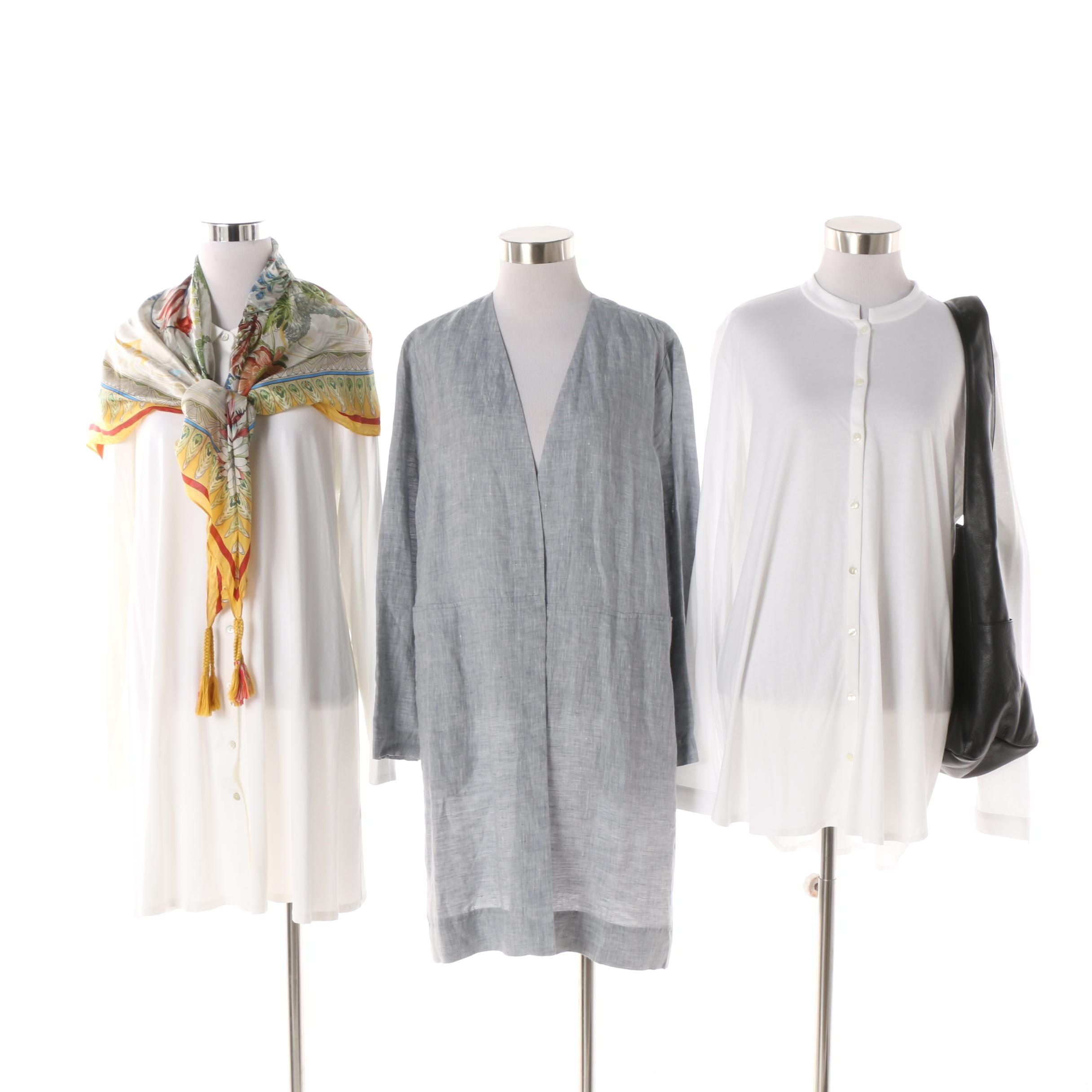 Eileen Fisher Tunics, Floral Scarf and Black Leather Hobo Bag